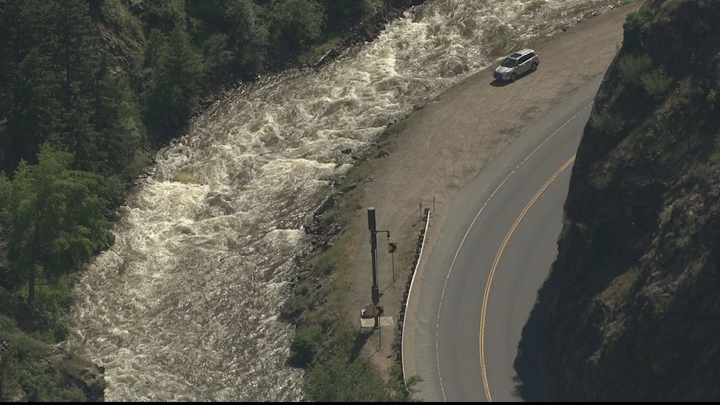 Copter4 flew over the rushing waters of Clear Creek on Thursday (credit: CBS)