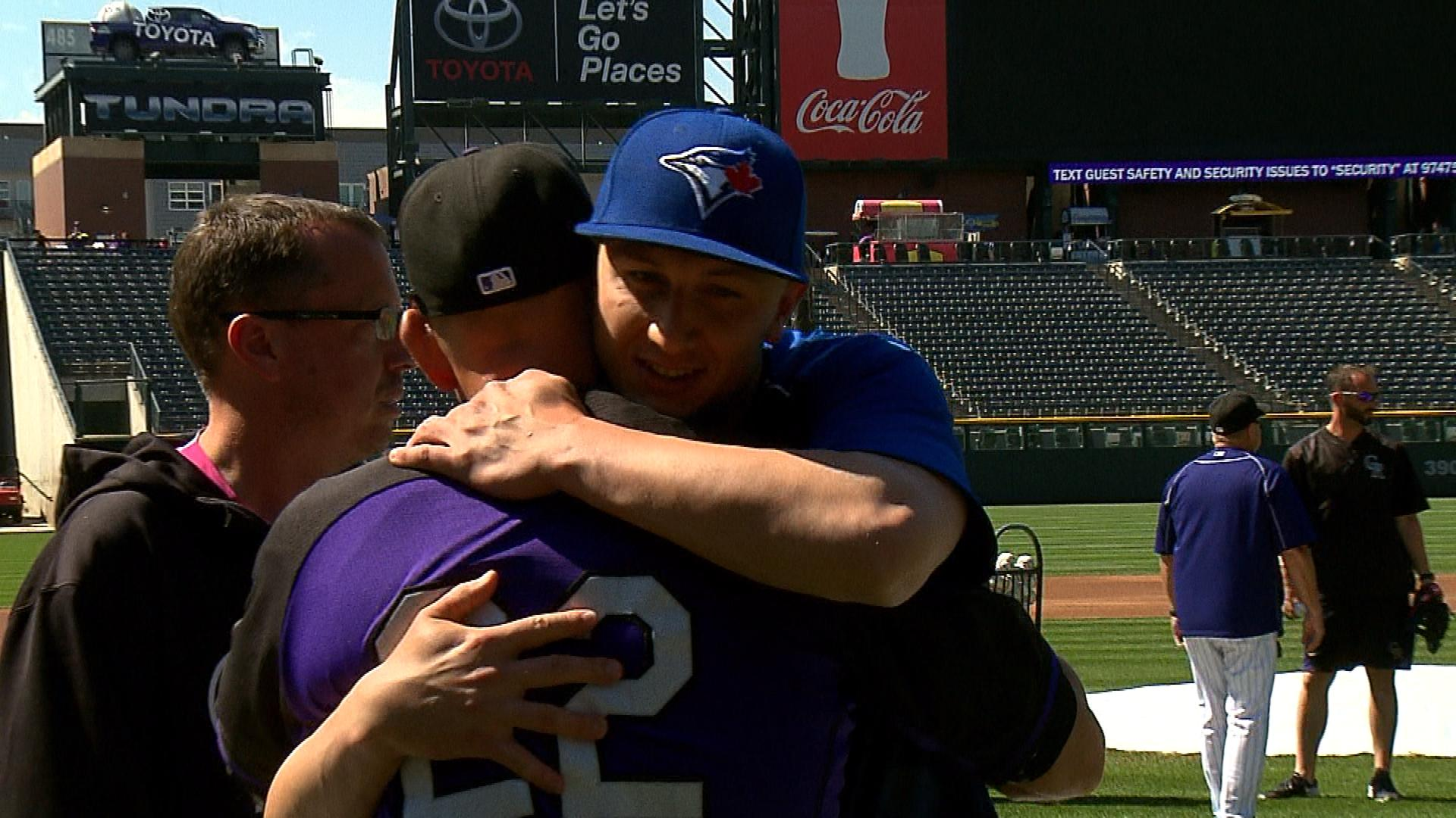 Troy Tulowitzki hugs his former manager Walt Weiss on Monday (credit: CBS)
