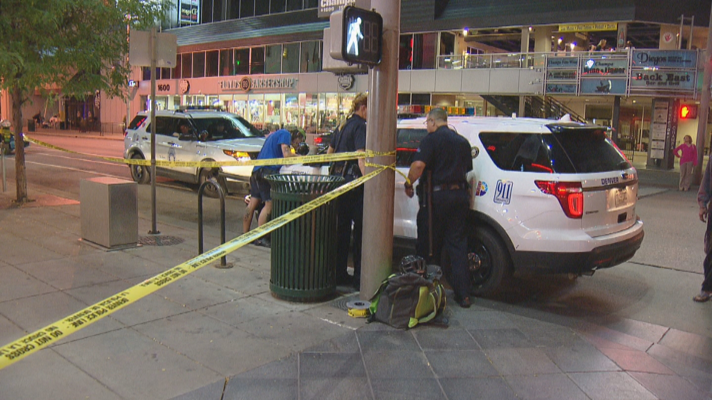 Police investigated a stabbing on the 16th Street Mall on Thursday night (credit: CBS)