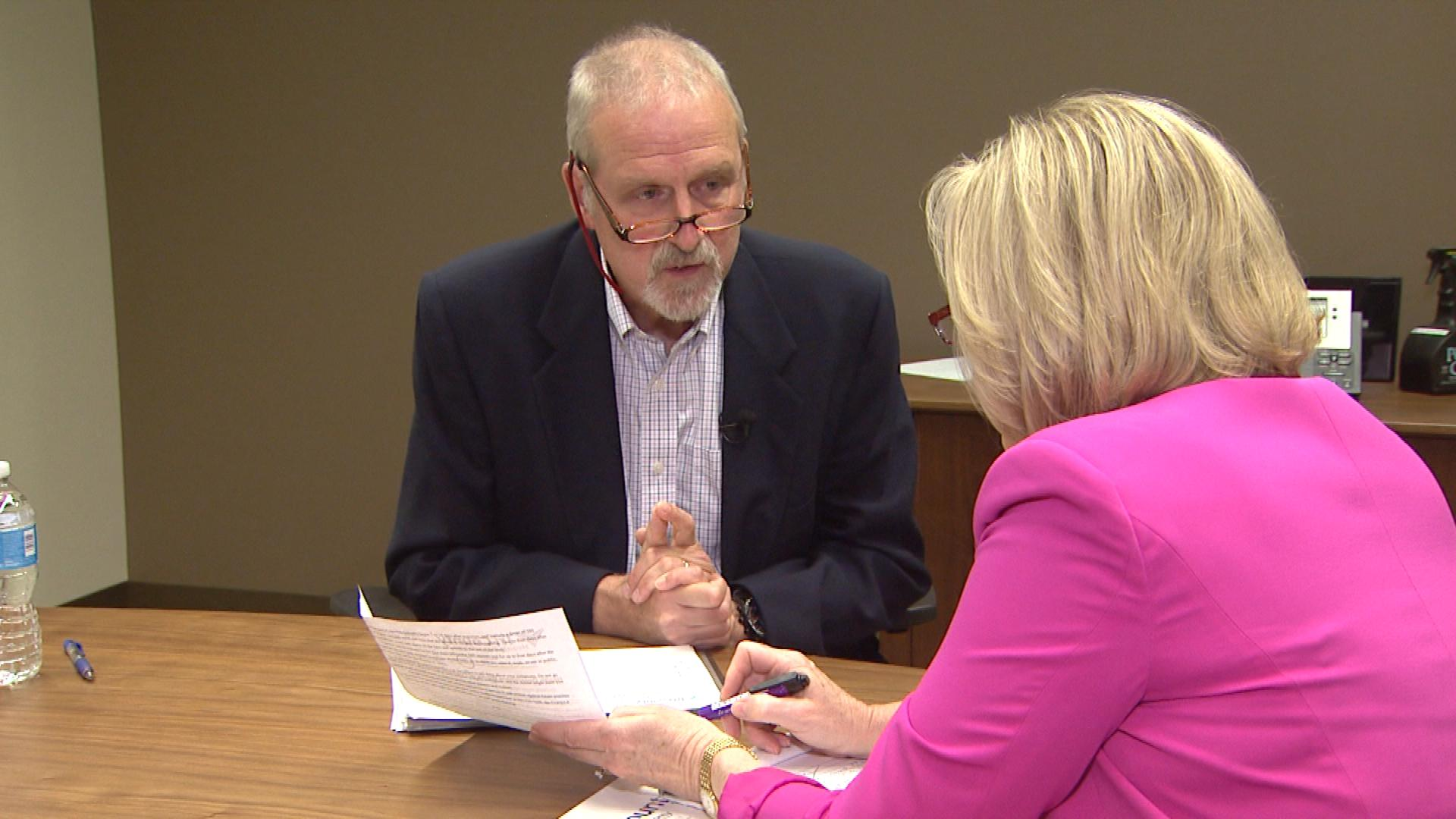 Tri-County Health Department Executive Director Dr. John Douglas is interviewed by CBS4's Kathy Walsh (credit: CBS)