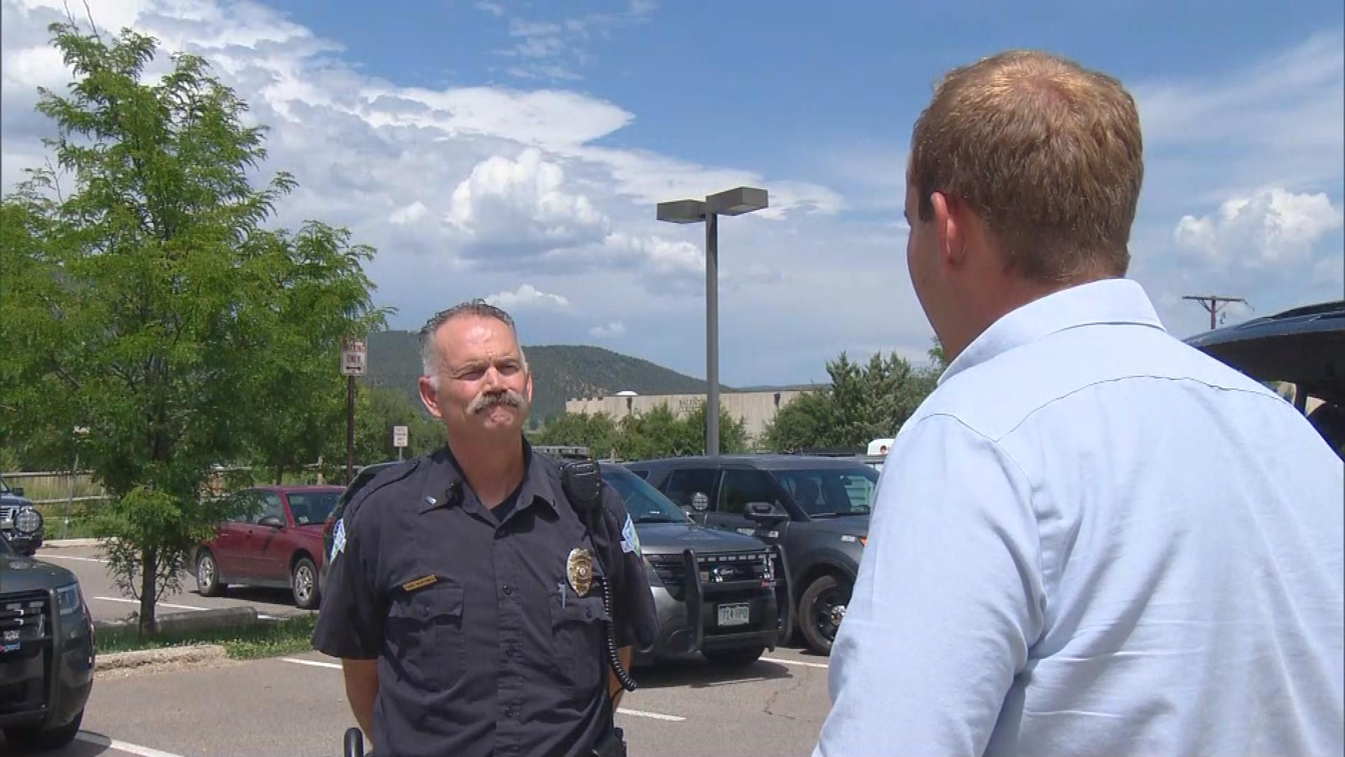 Chris Wurtsmith with the Carbondale Police Department is interviewed by CBS4's Matt Kroschel (credit: CBS)