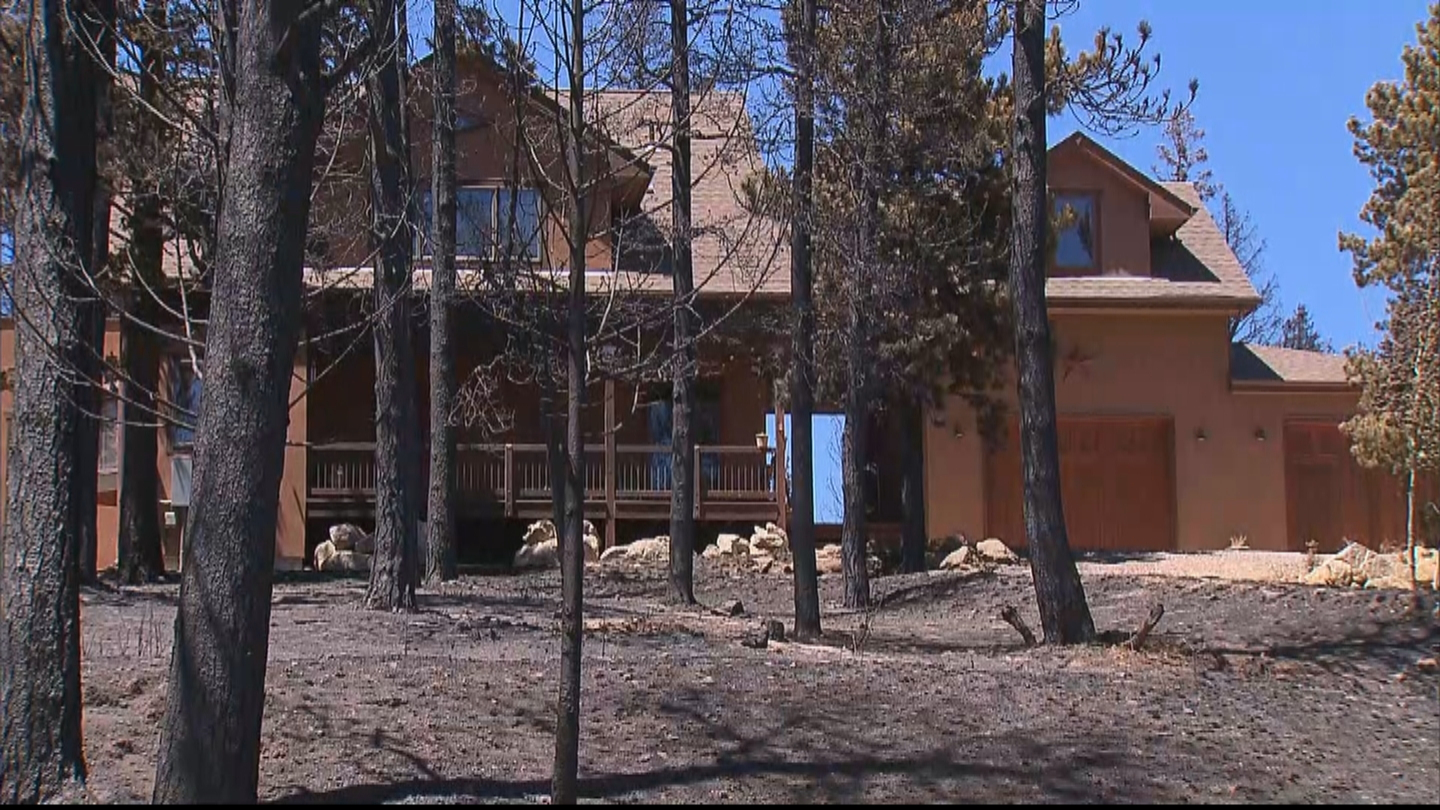 A home that was saved by fire crews in the Cold Springs Fire (credit: CBS)
