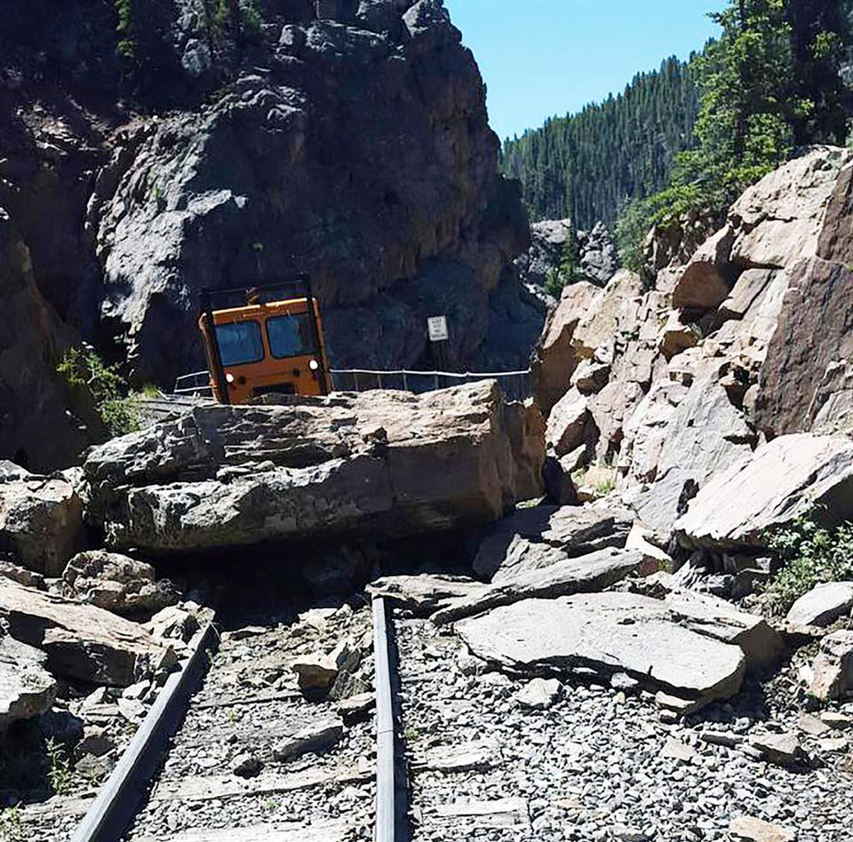 Rock slide on the Cumbres & Toltec Scenic Railroad tracks (credit: Cumbres & Toltec Scenic Railroad)