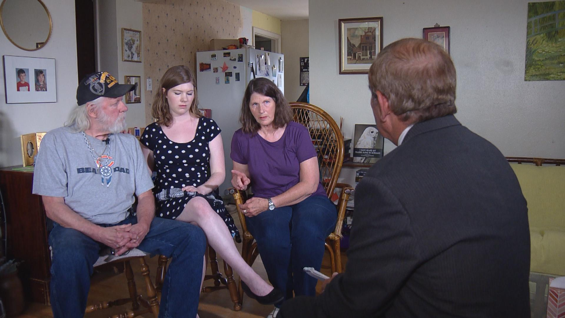 CBS4's Rick Sallinger interviews members of Jack Shirley's family. (credit: CBS)