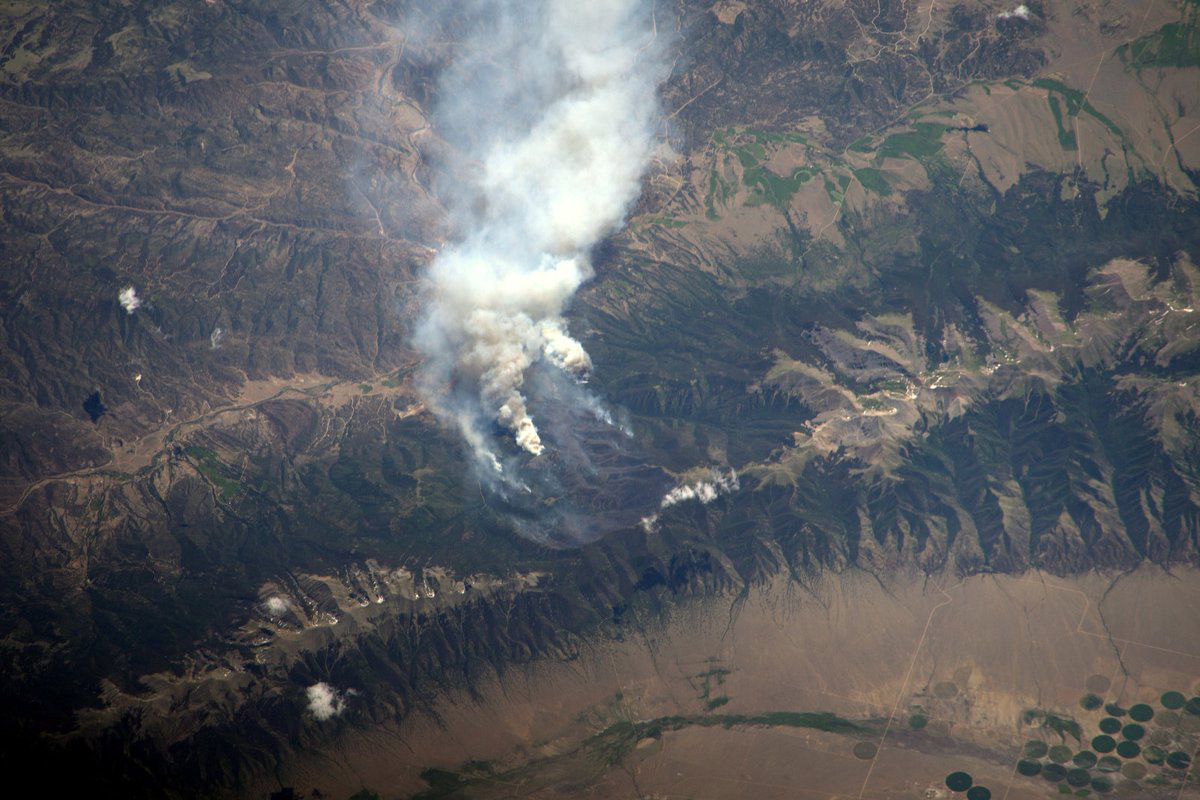 The Hayden Pass Fire as seen from space (credit: @AstroJeff)