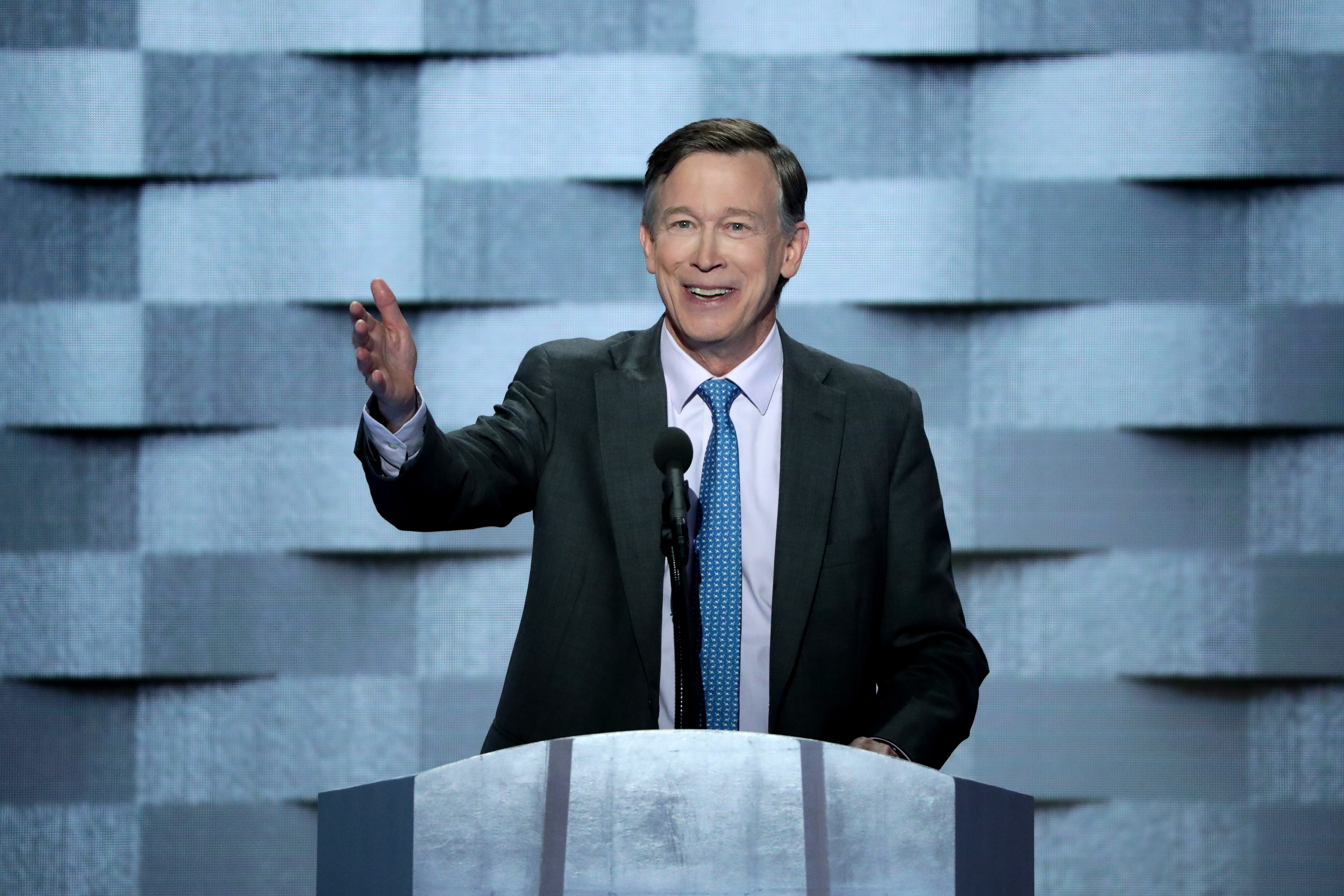 PHILADELPHIA, PA - JULY 28: Colorado Governor John Hickenlooper (D-CO) delivers remarks on the fourth day of the Democratic National Convention at the Wells Fargo Center, July 28, 2016 in Philadelphia, Pennsylvania. Democratic presidential candidate Hillary Clinton received the number of votes needed to secure the party's nomination. An estimated 50,000 people are expected in Philadelphia, including hundreds of protesters and members of the media. The four-day Democratic National Convention kicked off July 25. (Photo by Alex Wong/Getty Images)