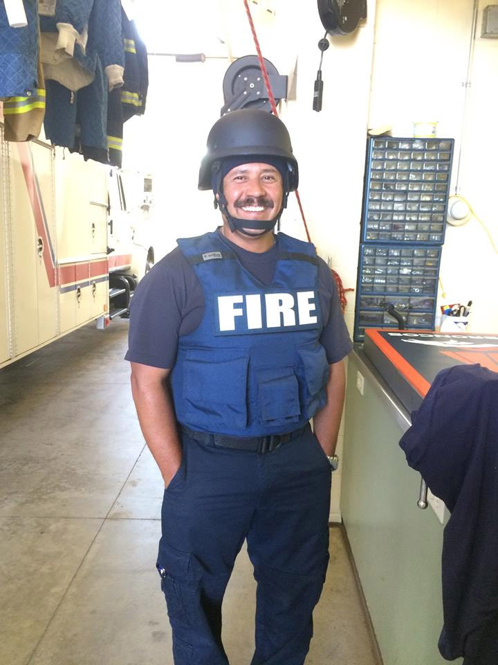 Frank Villa with Greeley Fire poses with the bulletproof gear (credit: Facebook)