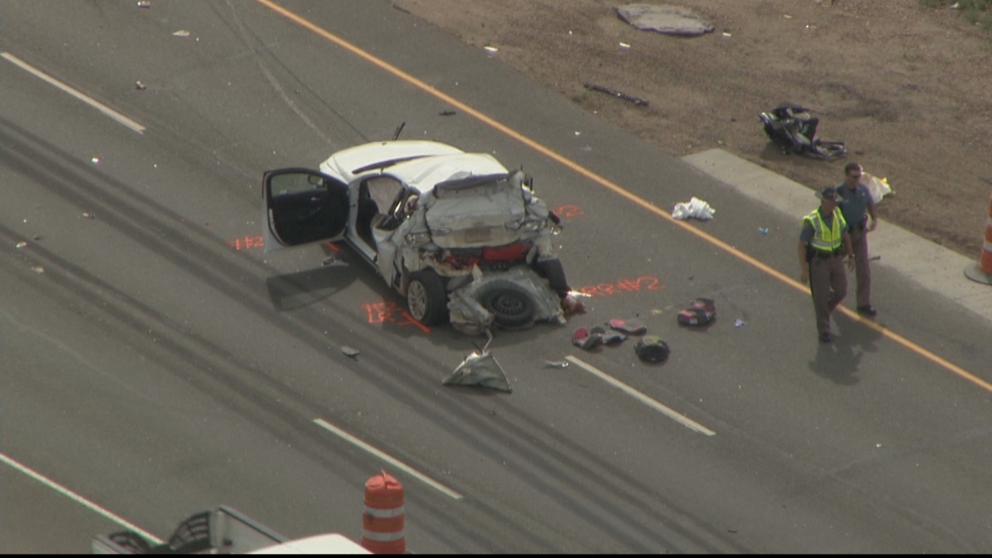 Copter4 flew over the crash scene at I-70 and Colfax Avenue (credit: CBS)