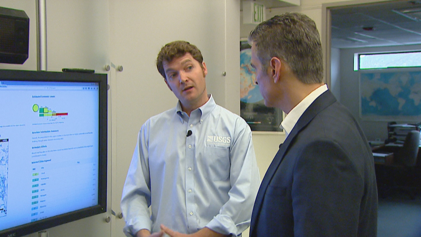 CBS4's Alan Gionet interviews Dr. Harley Benz with the USGS (credit: CBS)