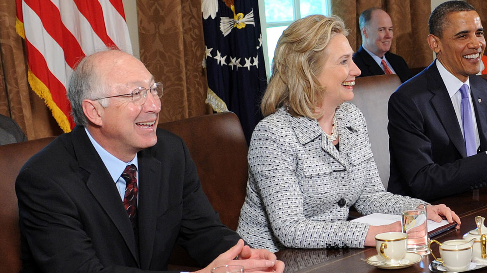 Secretary of Interior Ken Salazar and Secretary of State Hillary Clinton in a 2011 Cabinet meeting of President Barack Obama's in Washington (credit: Leslie E. Kossoff-Pool/Getty Images)