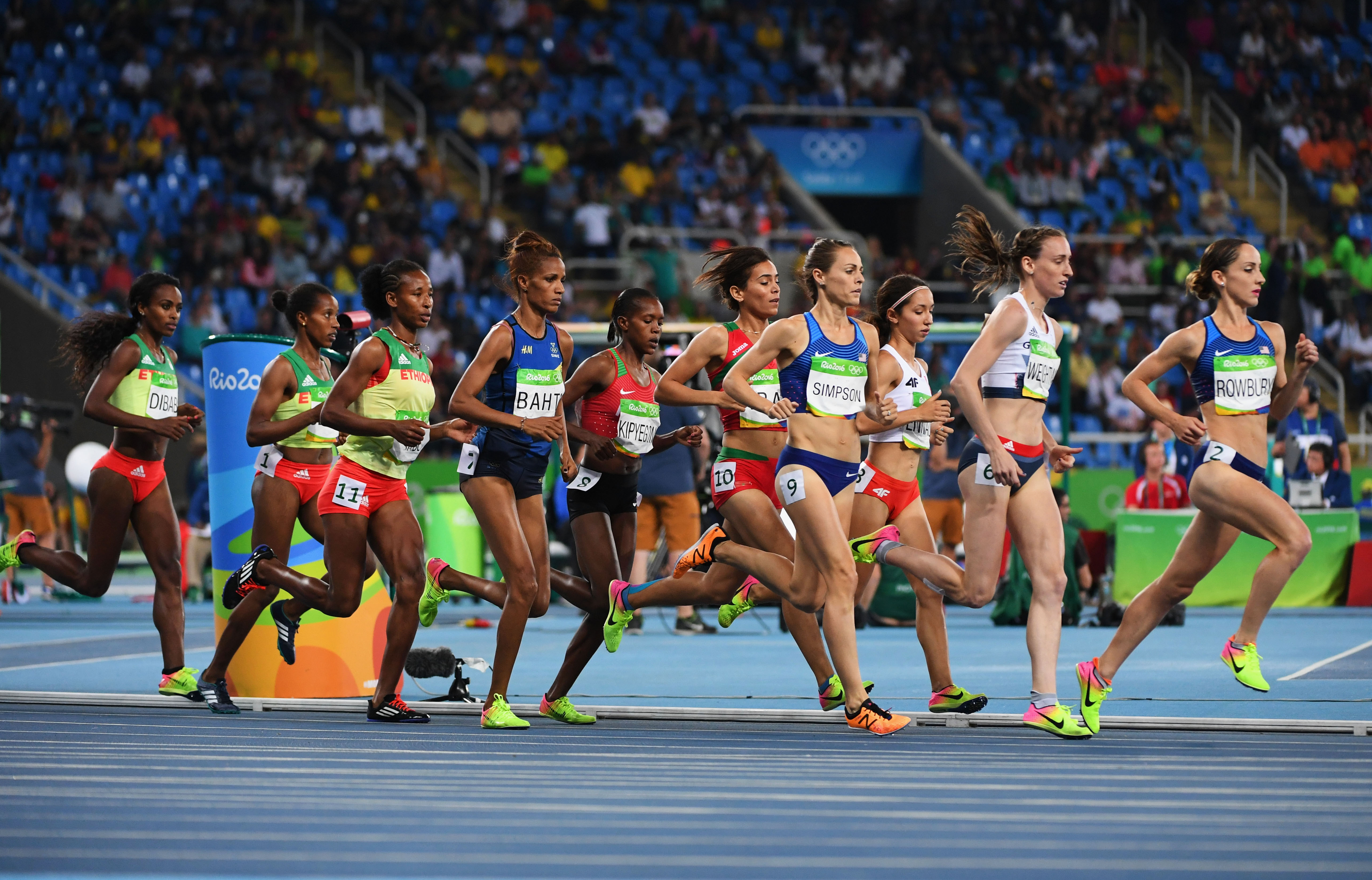 A view of competitors during the Women's 1500m Final on Day 11 of the Rio 2016 Olympic Games at the Olympic Stadium on August 16, 2016 in Rio de Janeiro, Brazil.  (Photo by Quinn Rooney/Getty Images)