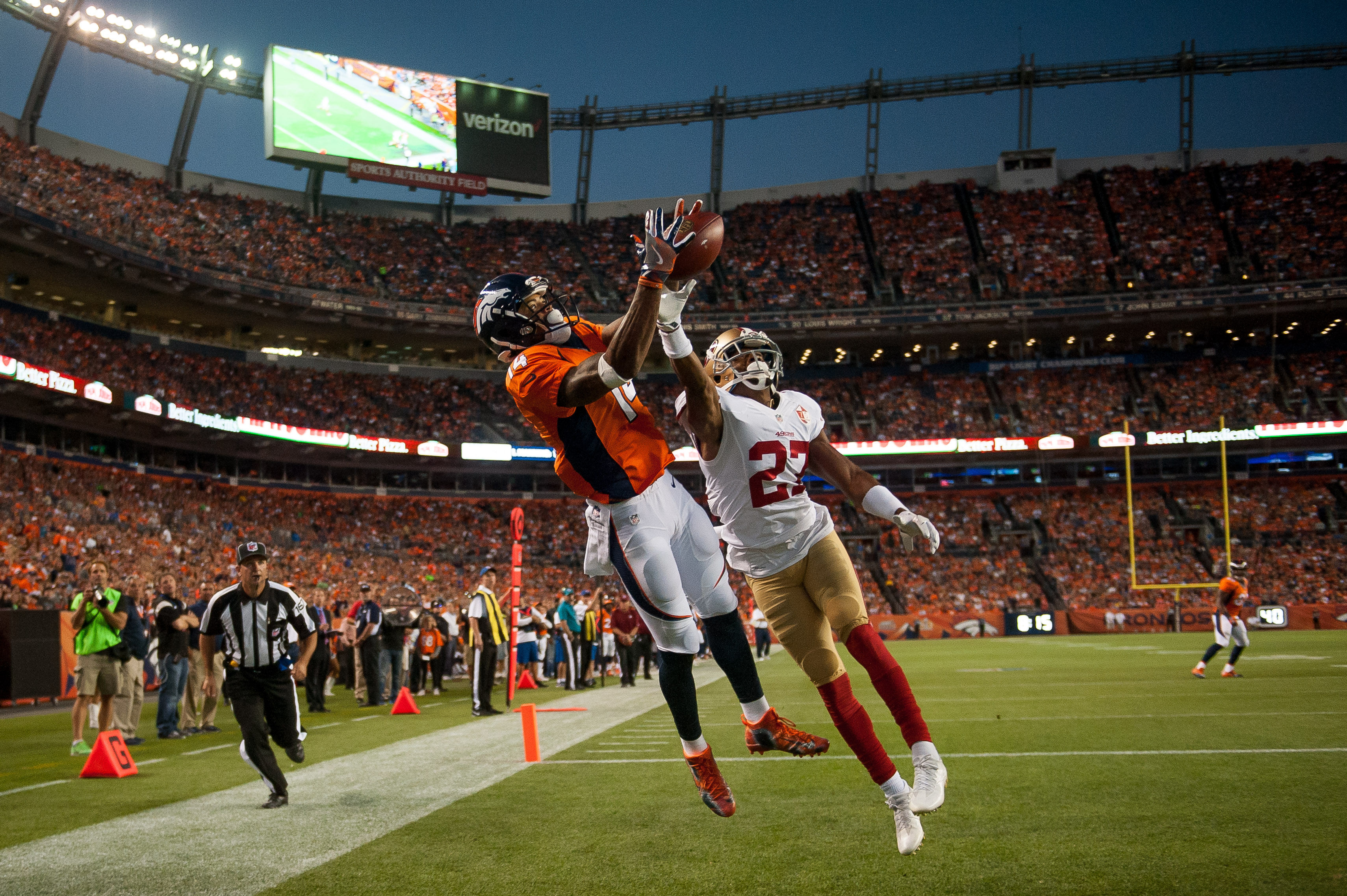 DENVER, CO - AUGUST 20: Wide receiver Cody Latimer of the Denver Broncos goes up for a pass in the end zone under coverage by cornerback Keith Reaser of the San Francisco 49ers in the second quarter of a preseason NFL game at Sports Authority Field at Mile High on August 20, 2016 in Denver, Colorado. (Photo by Dustin Bradford/Getty Images)