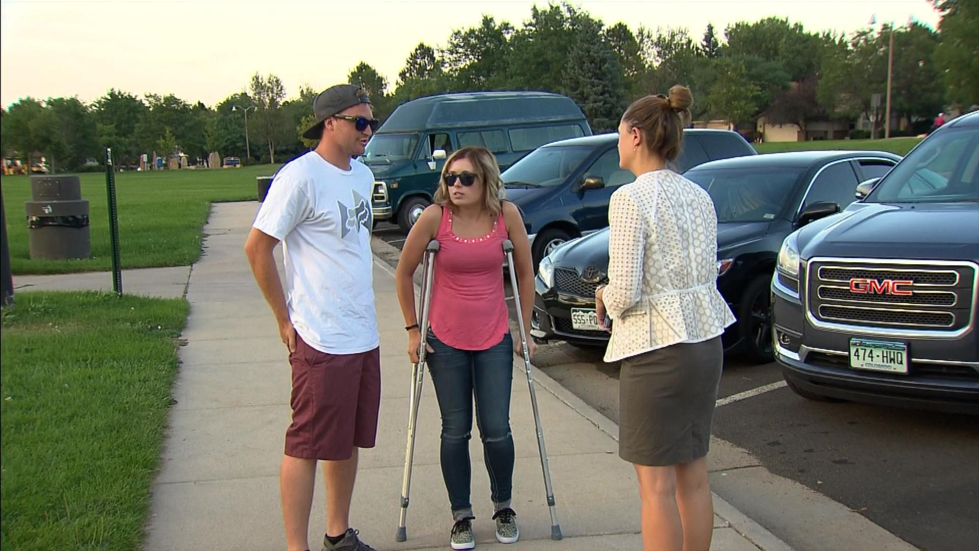 CBS4's Lauren DiSpirito interviews Michael Brade and Shelby Ginn. (credit: CBS)