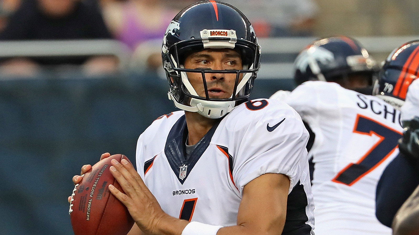 Mark Sanchez of the Denver Broncos at Soldier Field on Aug. 11, 2016. (Photo by Jonathan Daniel/Getty Images)
