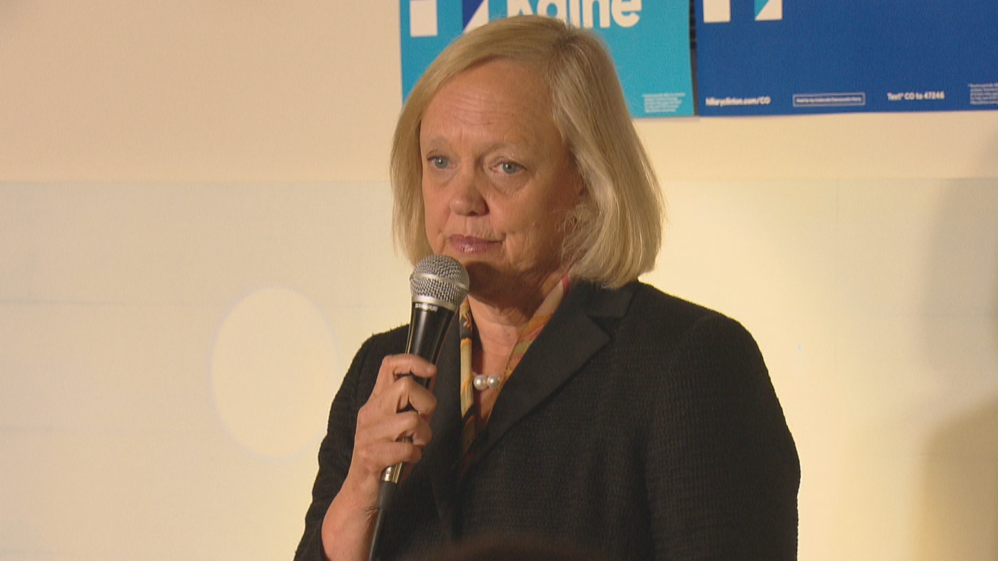 Hewlett Packard CEO Meg Whitman campaigns in Colorado for Hillary Clinton (credit: CBS)