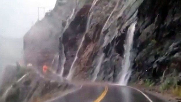 The waterfalls on Red Mountain Pass on Sunday (credit: CBS)