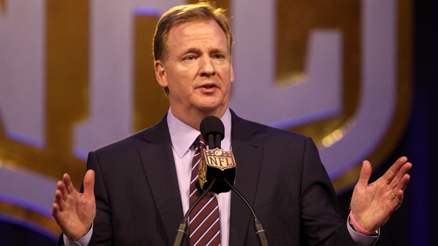 NFL Commissioner Roger Goodell speaks during a press conference prior to Super Bowl 50 at the Moscone Center West on February 5, 2016 in San Francisco, California.