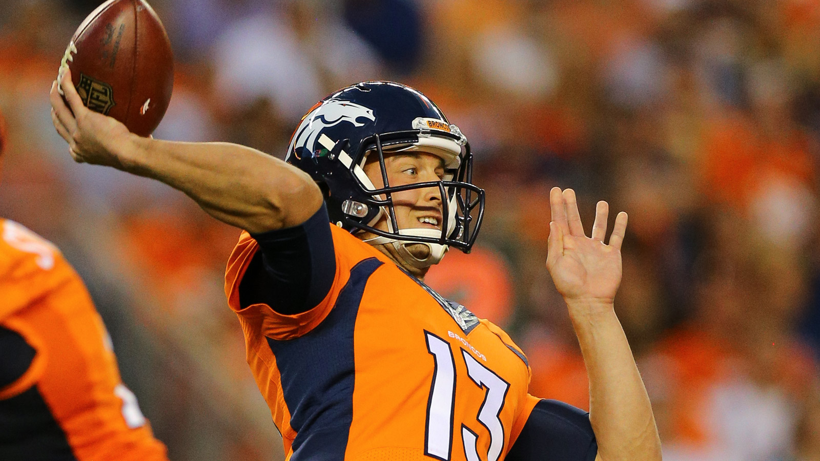 Quarterback Trevor Siemian #13 of the Denver Broncos throws a pass during the first quarter against the Los Angeles Rams at Sports Authority Field Field at Mile High on August 27, 2016 in Denver, Colorado. (Photo by Justin Edmonds/Getty Images)