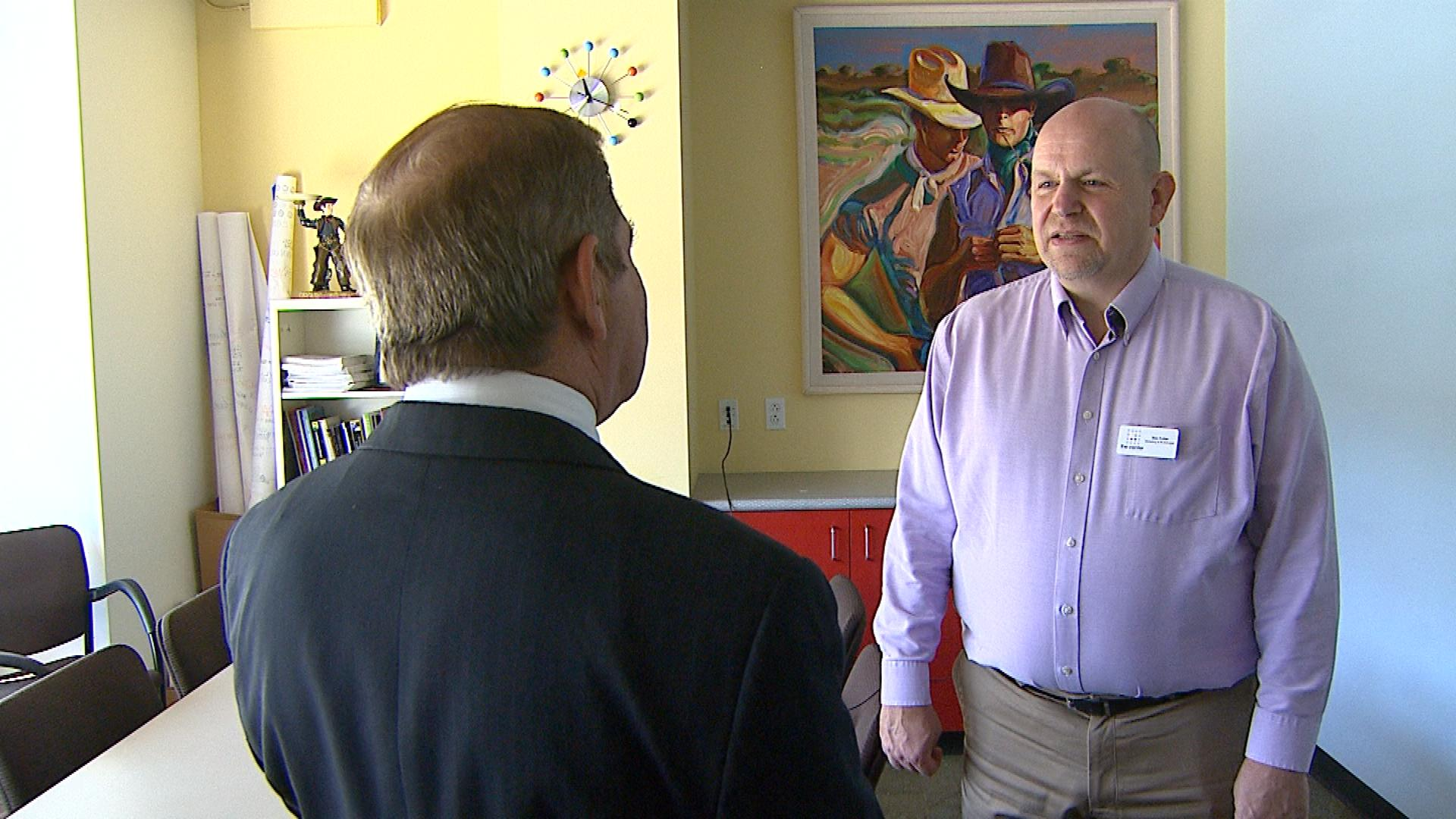CBS4's Rick Sallinger interviews Rex Fuller with the Gay, Lesbian, Bisexual and Transgender Community Center of Colorado (credit: CBS)