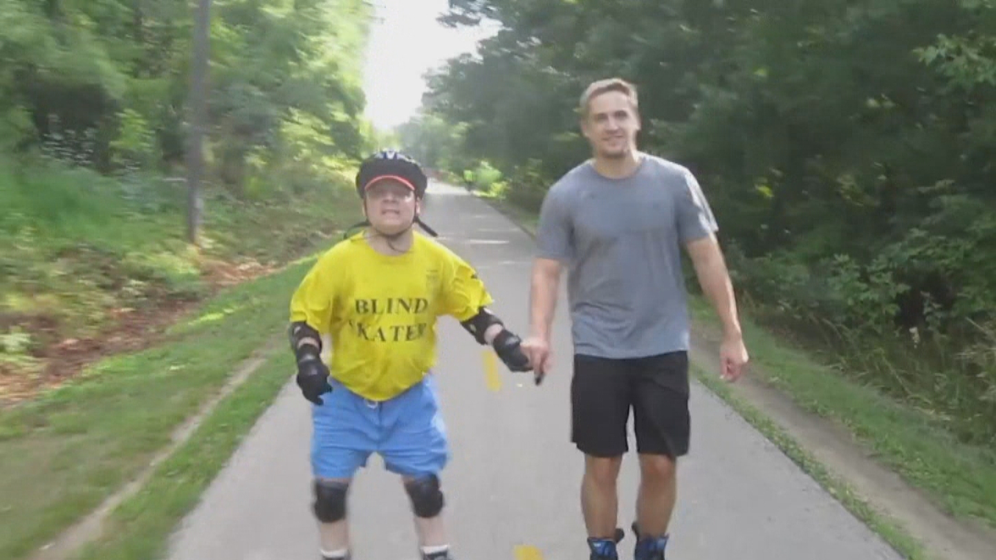 Matthew Weed roller blades with a guide. (credit: Matthew Weed)