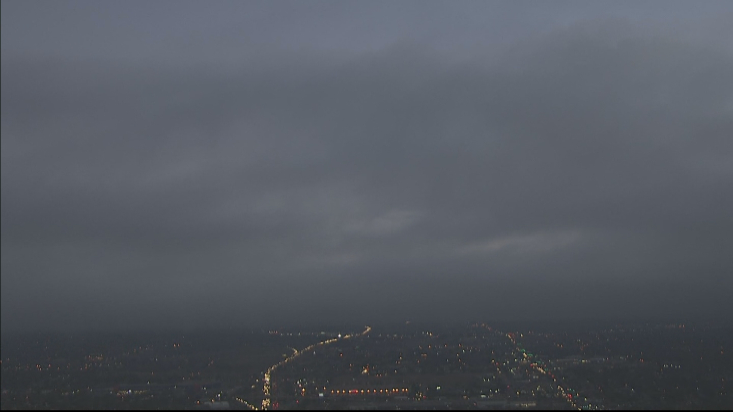 Copter4 flew over the city as the fog rolled in on Thursday morning. (credit: CBS)