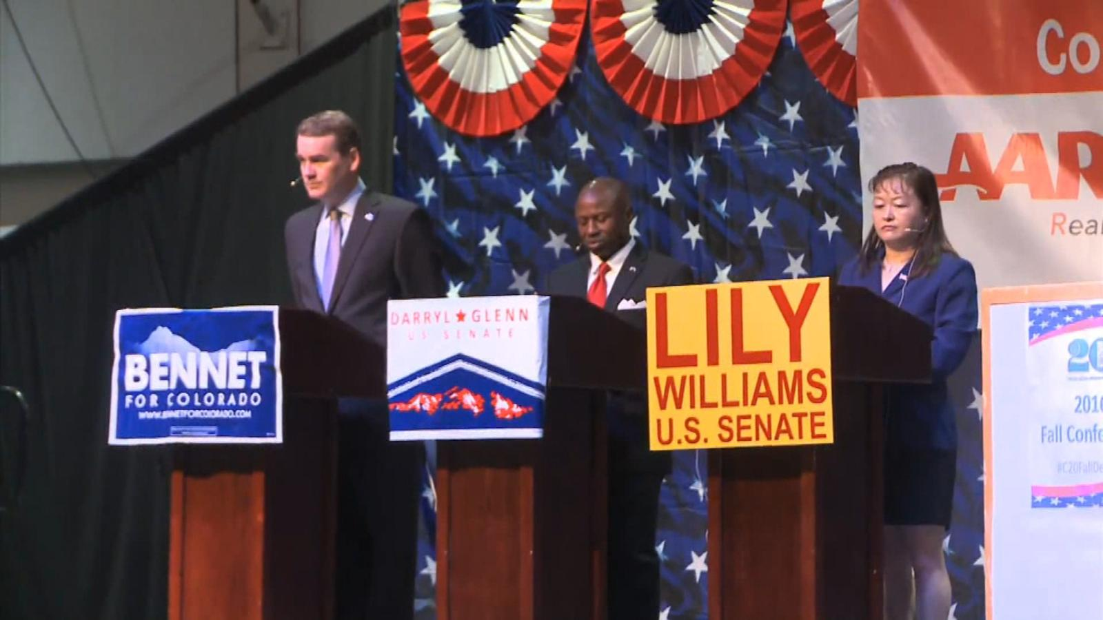 Michael Bennet, Darryl Glenn and Lily Williams (credit: CBS)