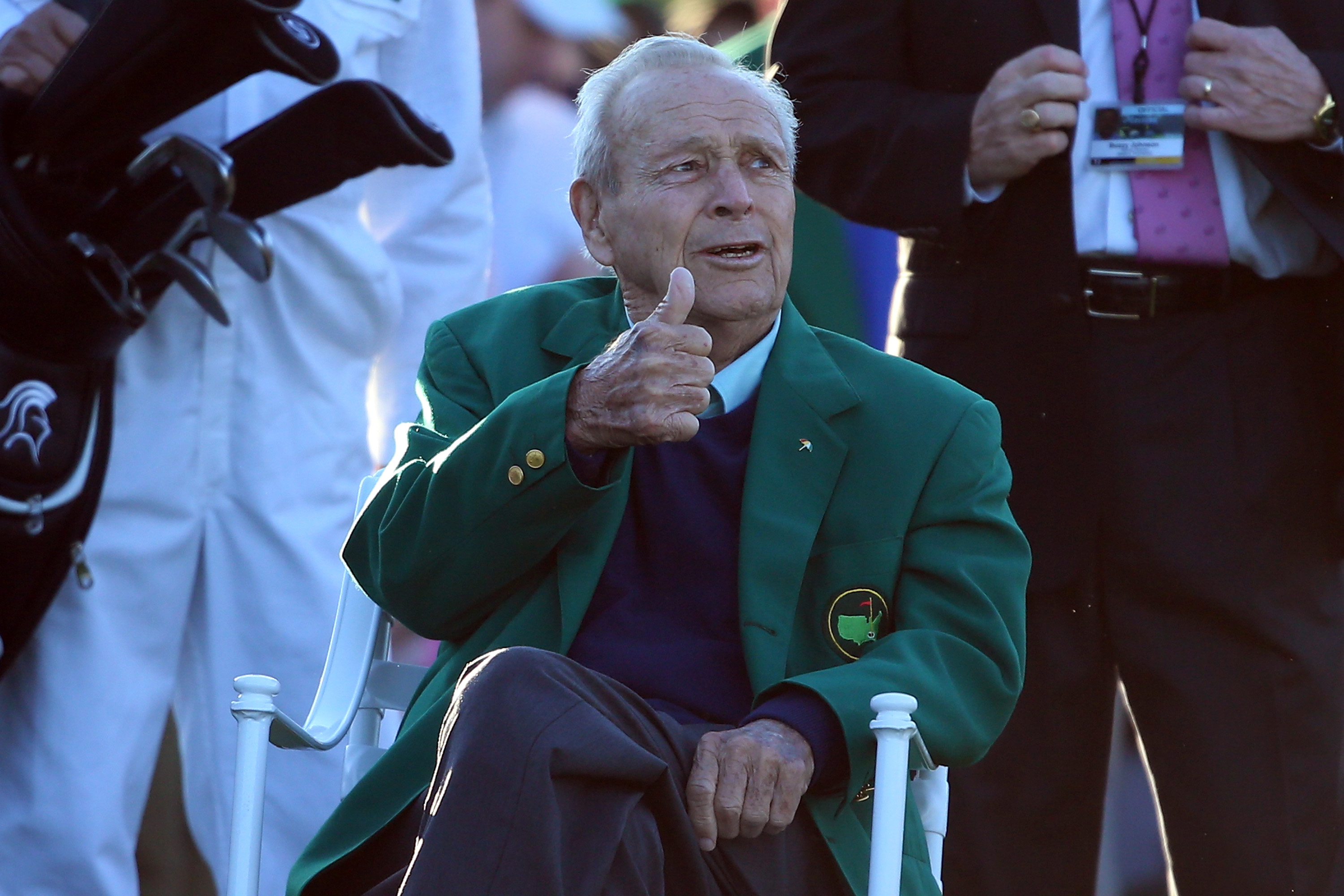 Honorary starter Arnold Palmer attends the ceremonial tee off to start the first round of the 2016 Masters Tournament at Augusta National Golf Club (Andrew Redington/Getty Images)