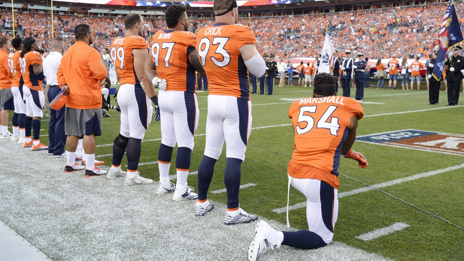 Linebacker Brandon Marshall of the Denver Broncos takes a knee during the national anthem. The Denver Broncos hosted the Carolina Panthers on Thursday, Sept. 8, 2016. (Photo by John Leyba/The Denver Post via Getty Images)