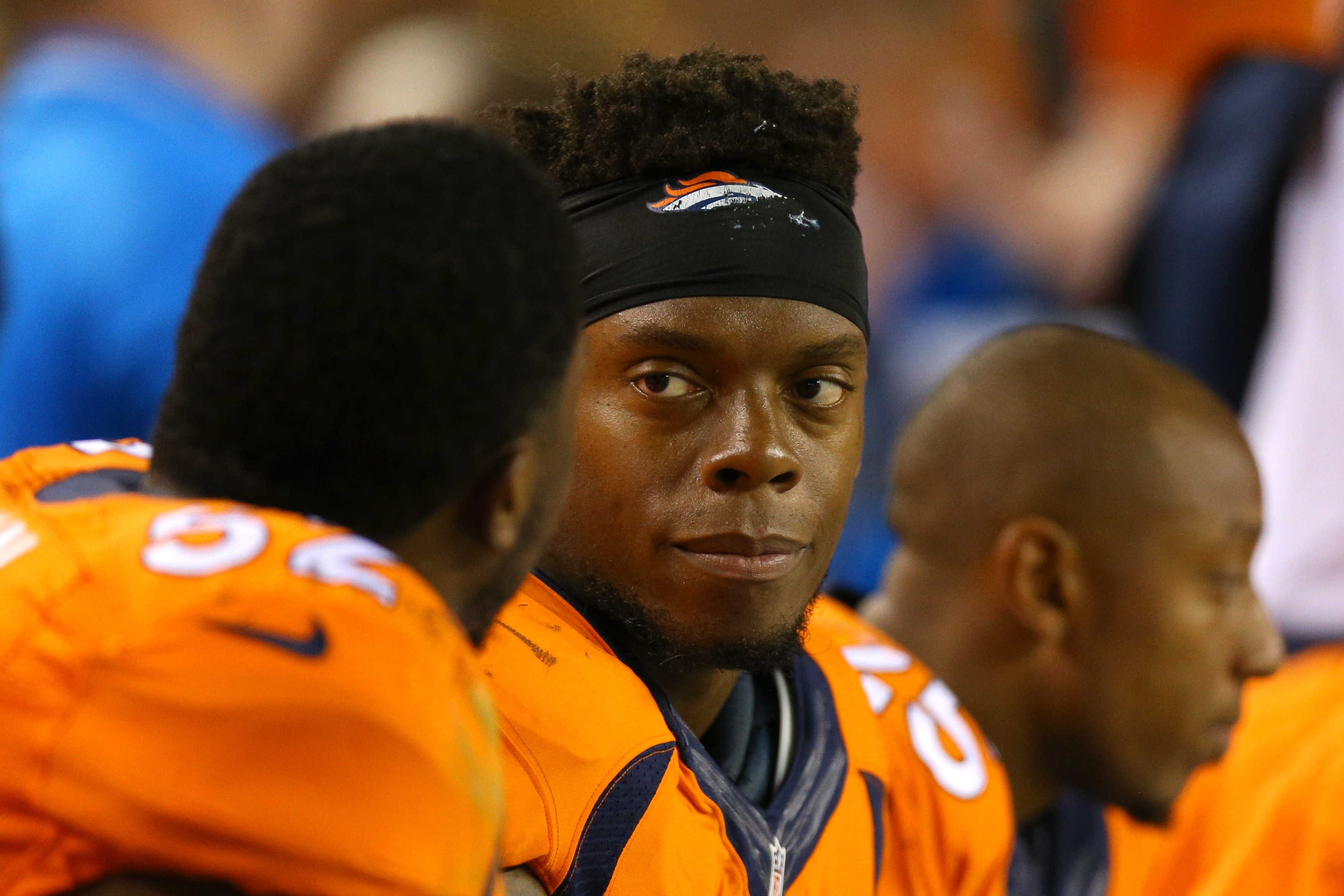 Inside linebacker Brandon Marshall of the Denver Broncos looks on from the bench in the first half against the Carolina Panthers at Sports Authority Field at Mile High on Sept. 8, 2016.  (Photo by Justin Edmonds/Getty Images)