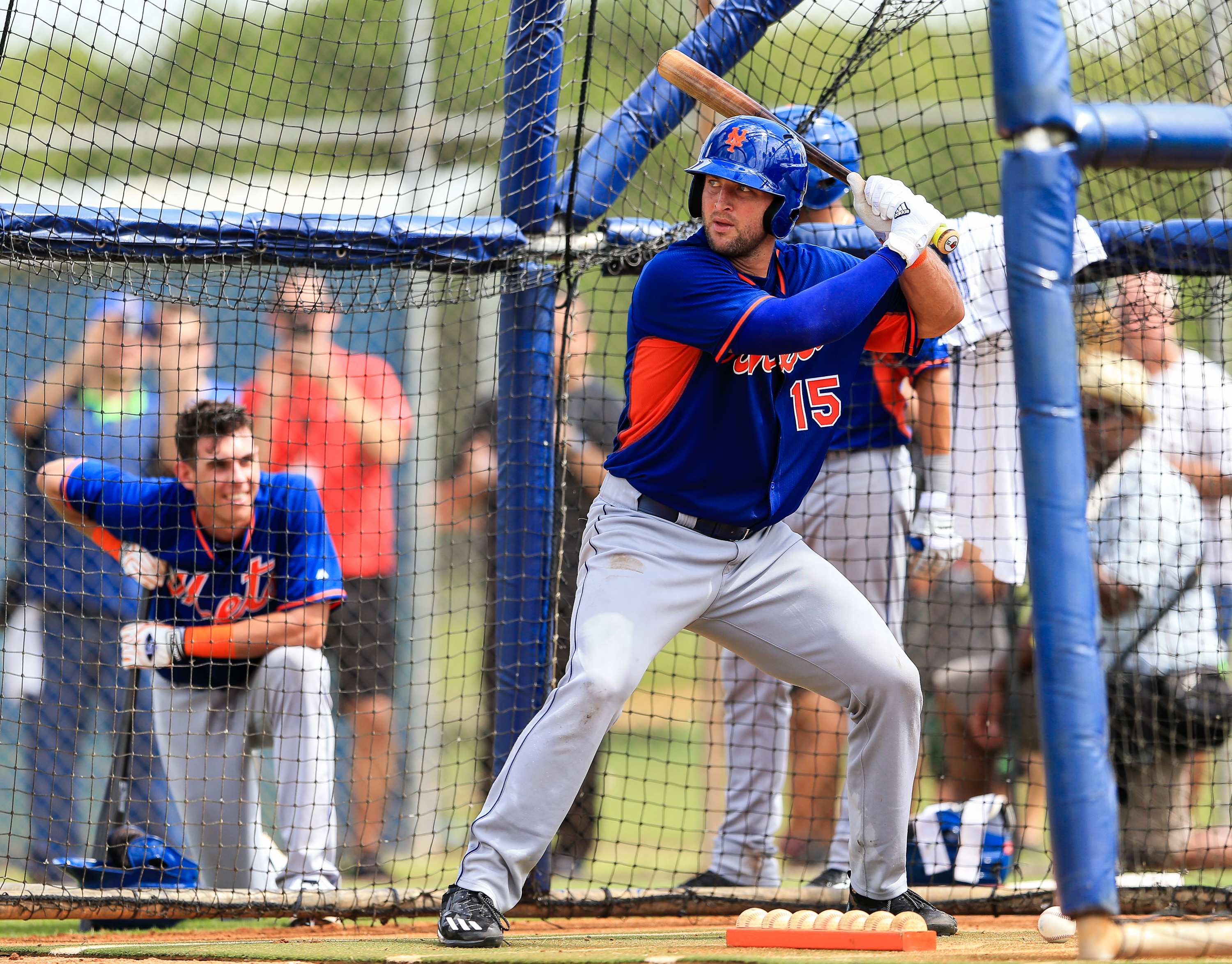 Tim Tebow #15 of the New York Mets works out at an instructional league day at Tradition Field on September 20, 2016 in Port St. Lucie, Florida. (Photo by Rob Foldy/Getty Images)