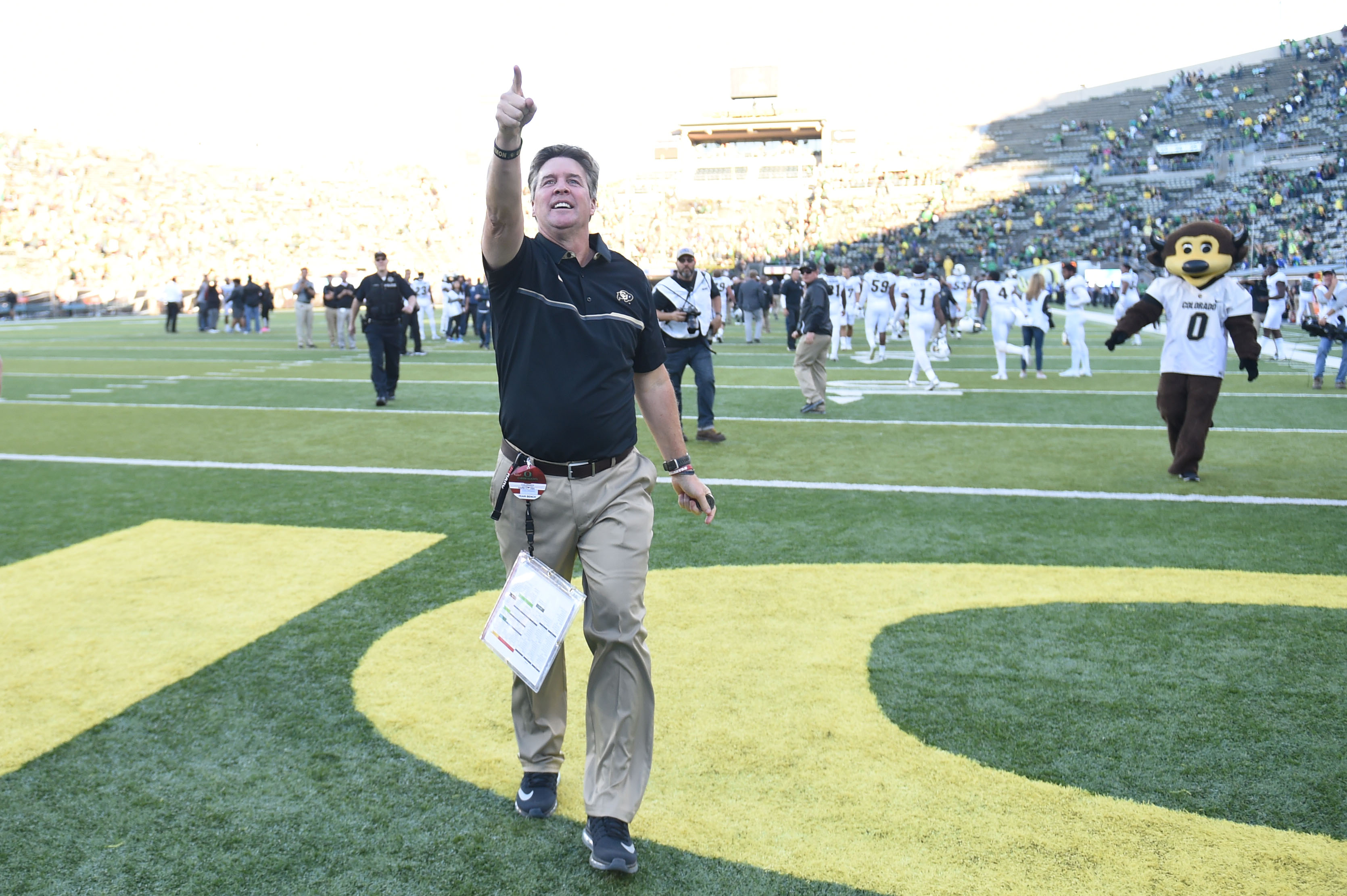 Head coach Mike MacIntyre of the Colorado Buffaloes celebrates after the game against the Oregon Ducks at Autzen Stadium on September 24, 2016 in Eugene, Oregon. Colorado won the game 41-38. (Photo by Steve Dykes/Getty Images)
