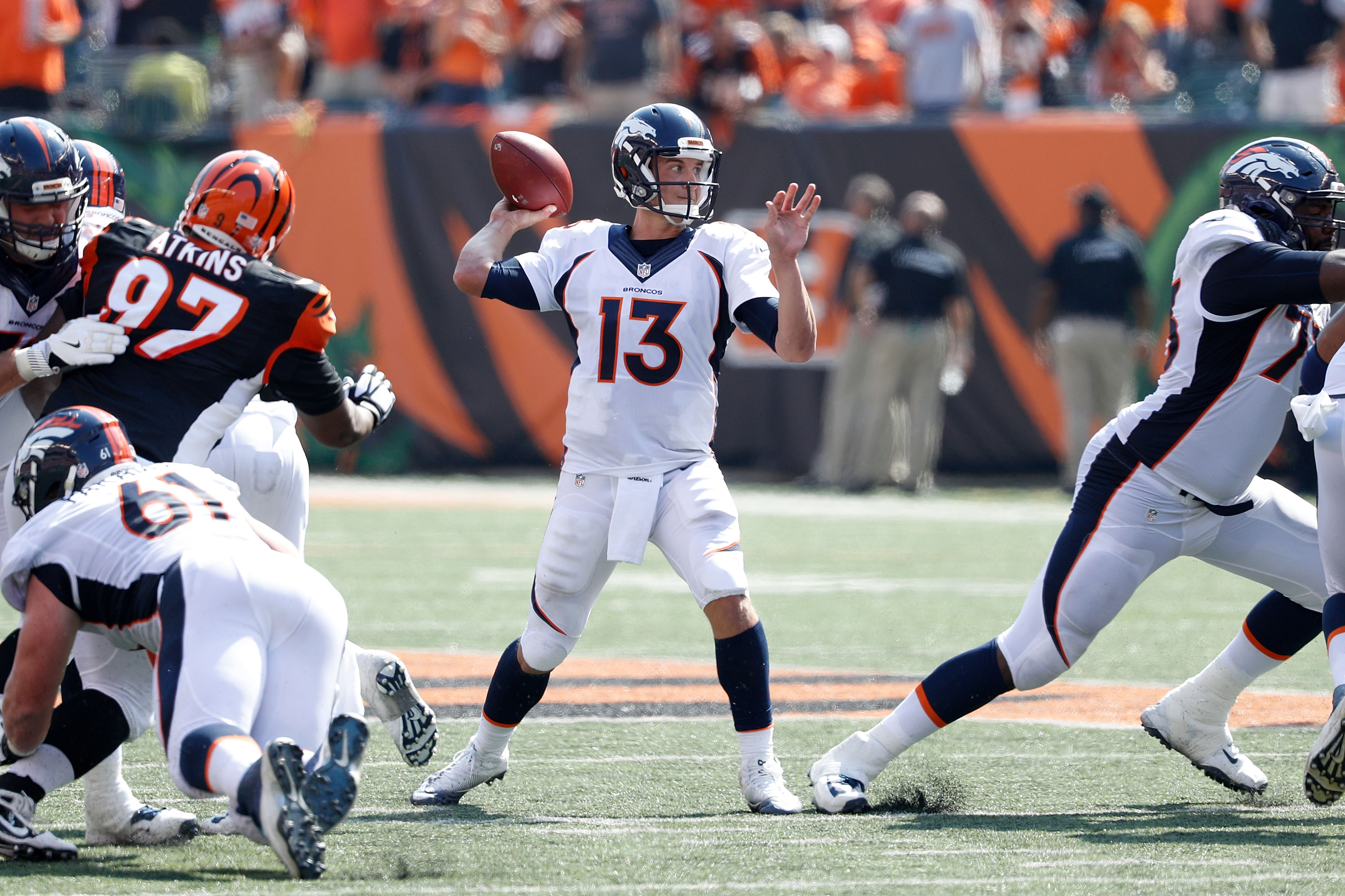 CINCINNATI, OH - SEPTEMBER 25: Trevor Siemian #13 of the Denver Broncos throws a pass during the second quarter of the game against the Cincinnati Bengals at Paul Brown Stadium on September 25, 2016 in Cincinnati, Ohio. (Photo by Joe Robbins/Getty Images)