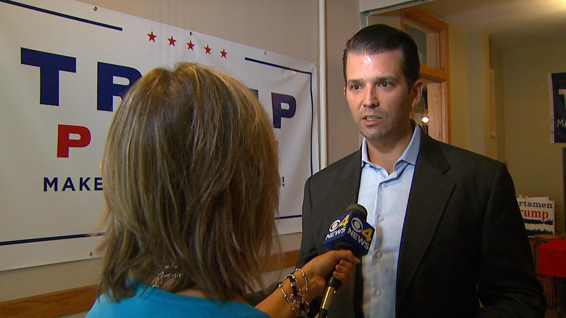 CBS4's Shaun Boyd interviews Donald Trump Jr. (credit: CBS)