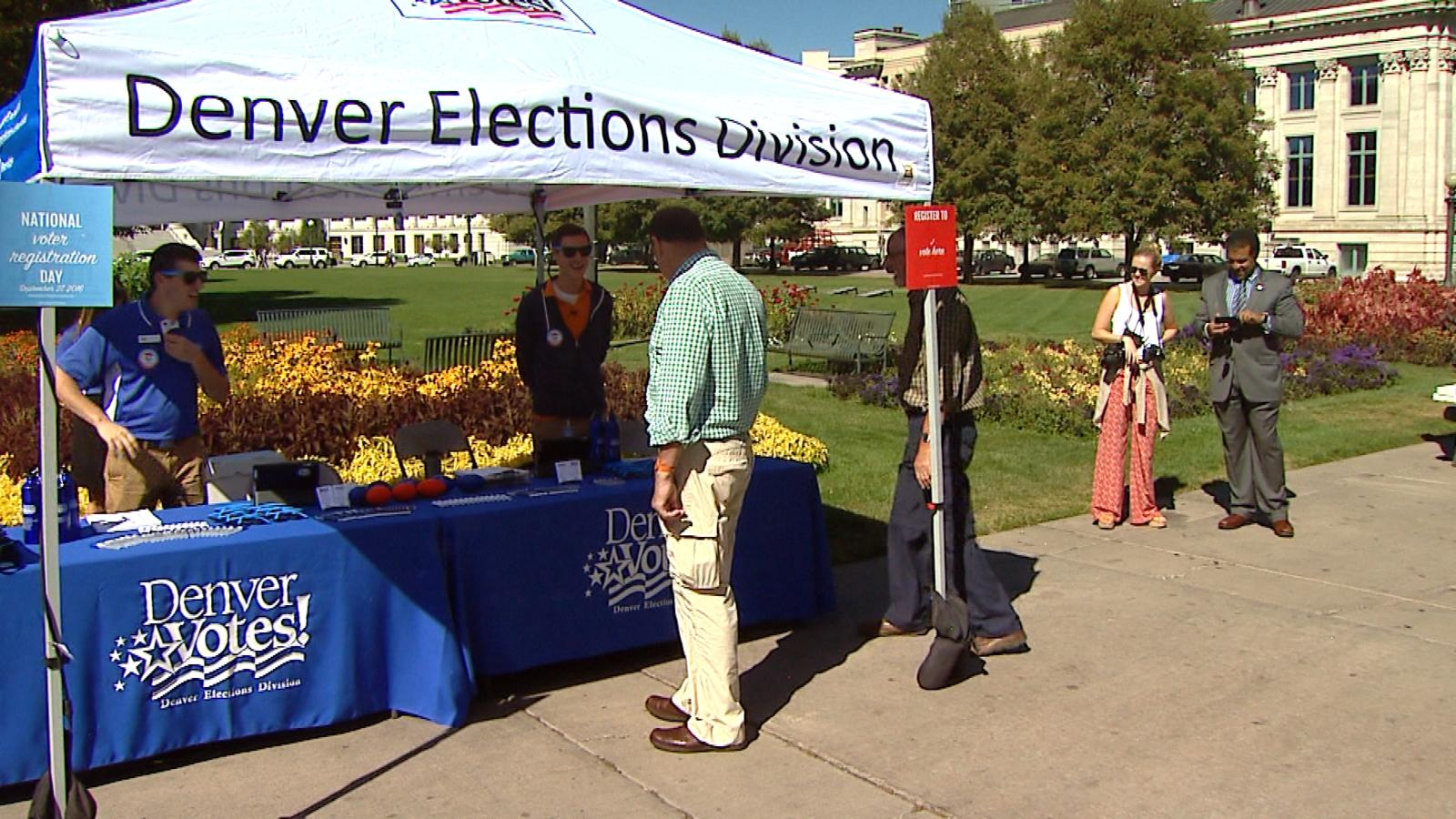A tent in Civic Center Park (credit: CBS)