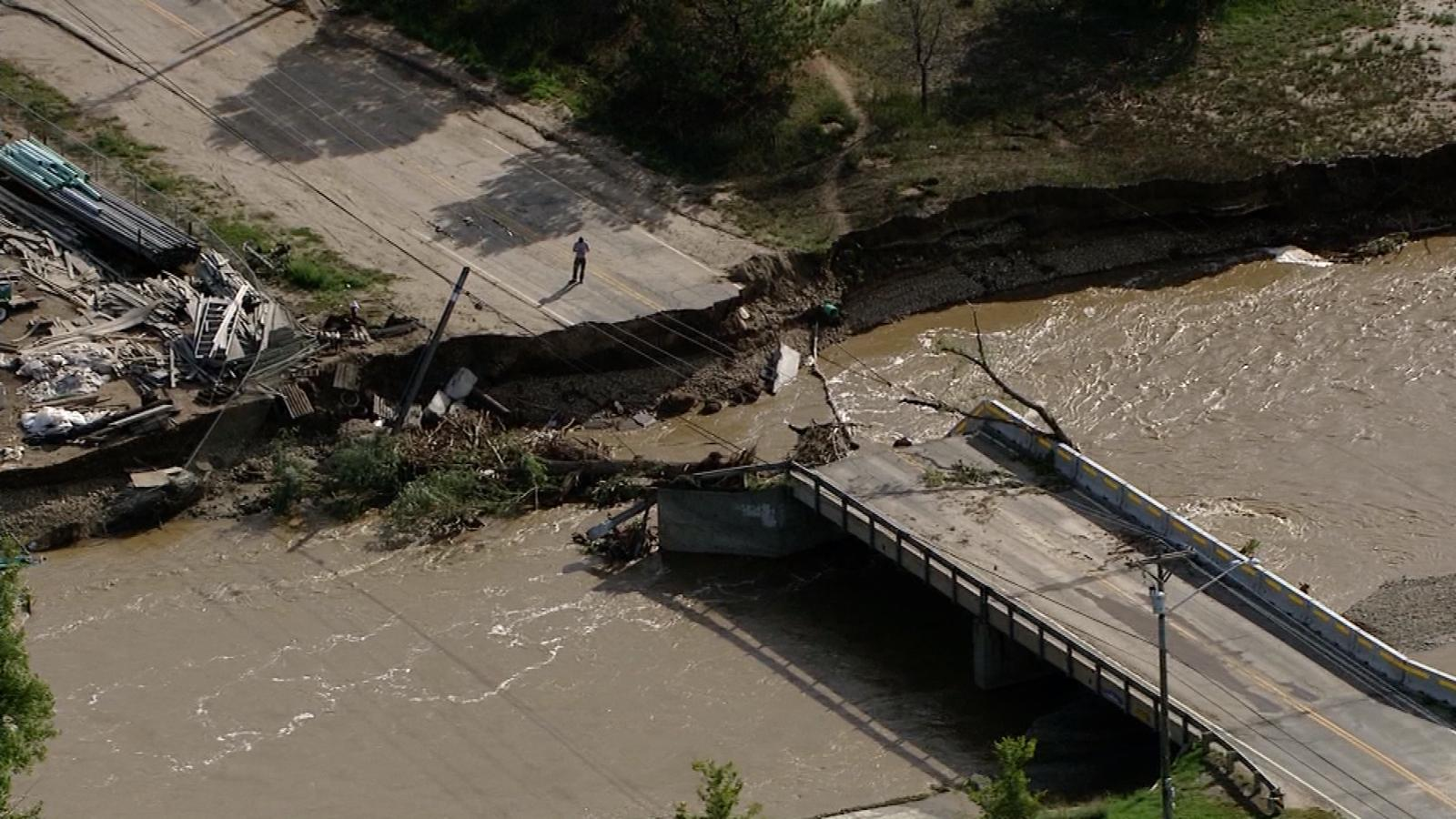 Damage from flooding in Lyons in September 2013. (credit: CBS)
