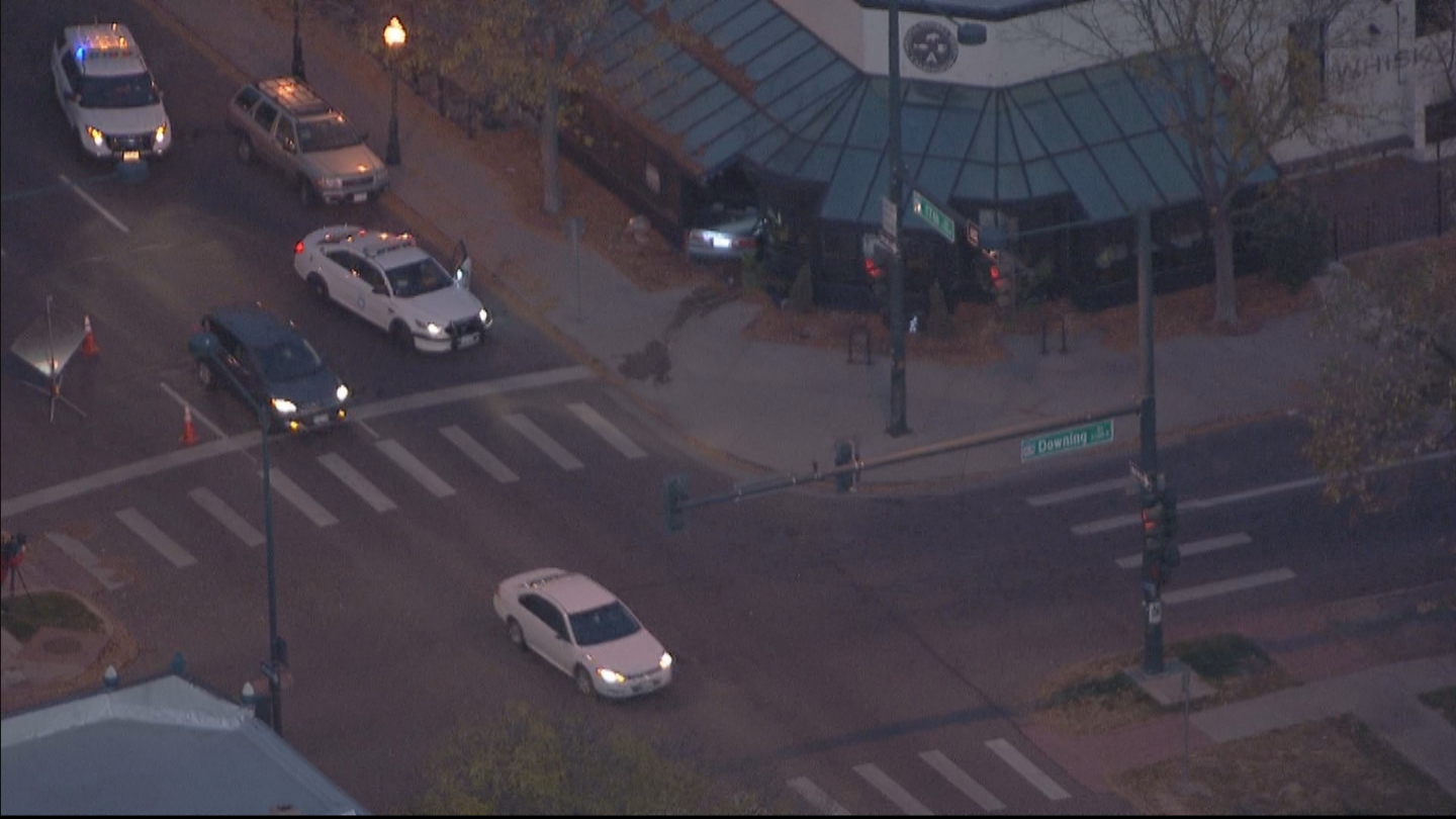 Copter4 flew over a car that crashed into a restaurant at 17th Avenue and Downing Street (credit: CBS)