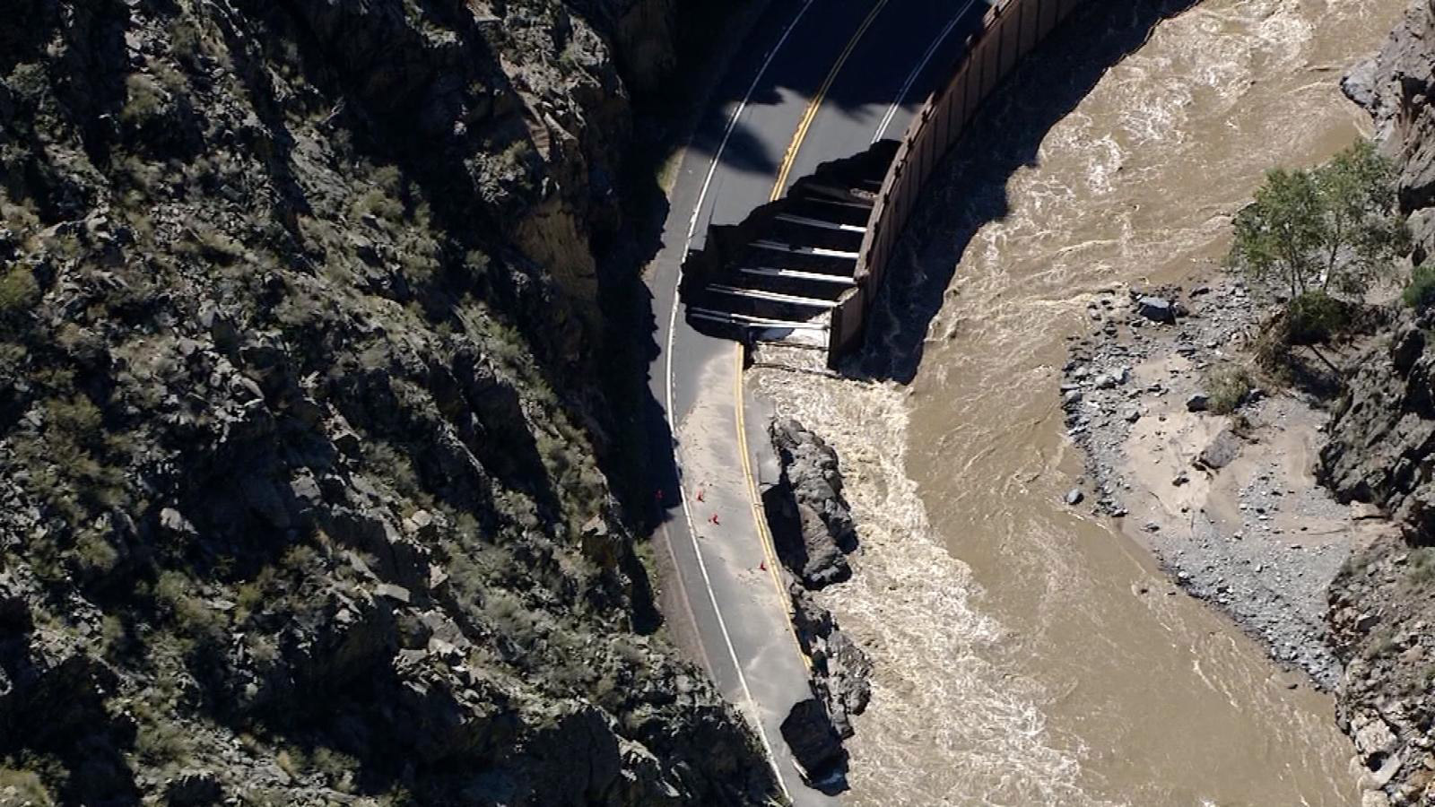 Copter4 flew over Highway 34 in the Big Thompson Canyon after it was damaged in the Sept. 2013 floods. (credit: CBS)
