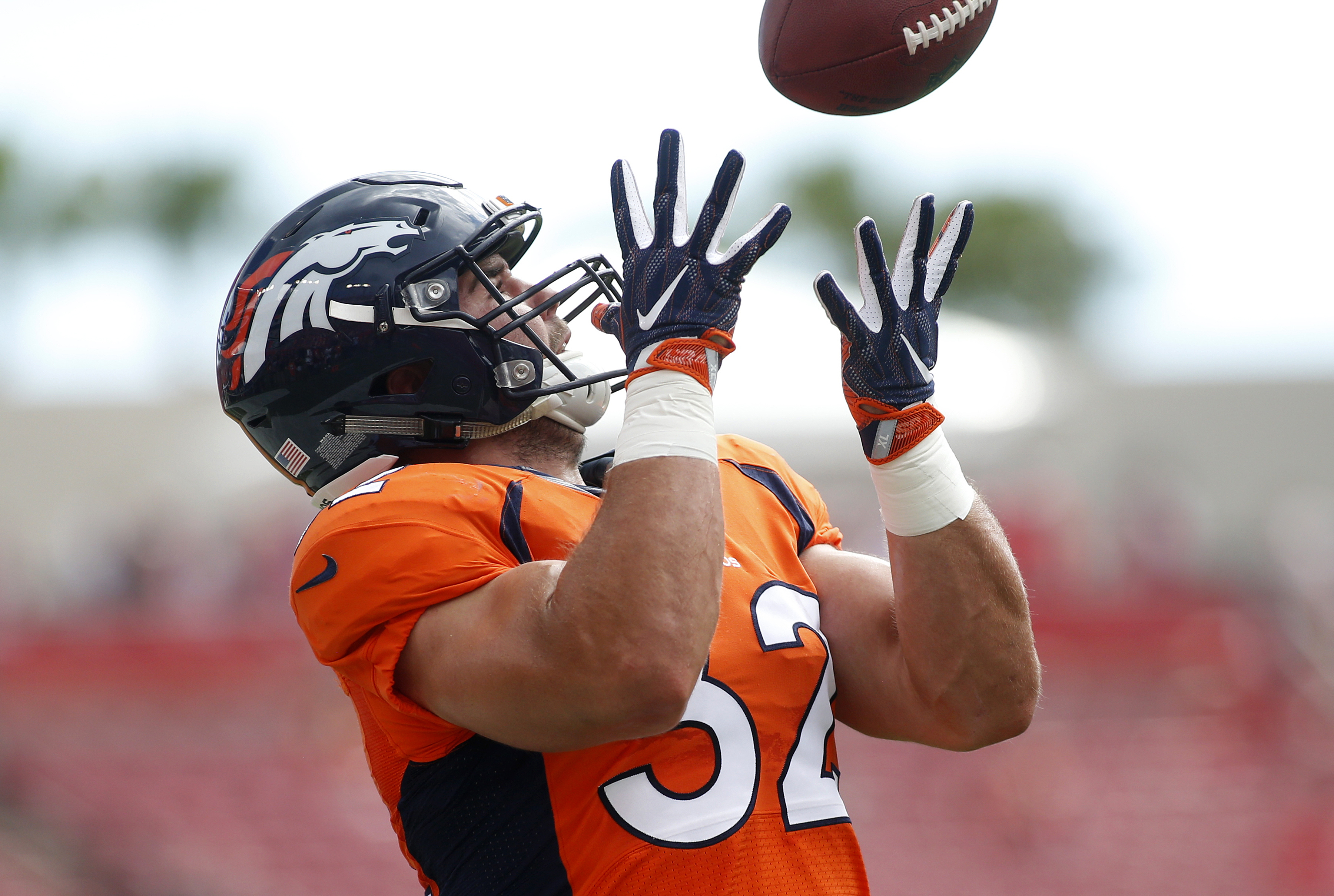 Fullback Andy Janovich of the Denver Broncos warms up before the start of an NFL game against the Tampa Bay Buccaneers on Oct. 2, 2016, at Raymond James Stadium in Tampa, Florida. (Photo by Brian Blanco/Getty Images)