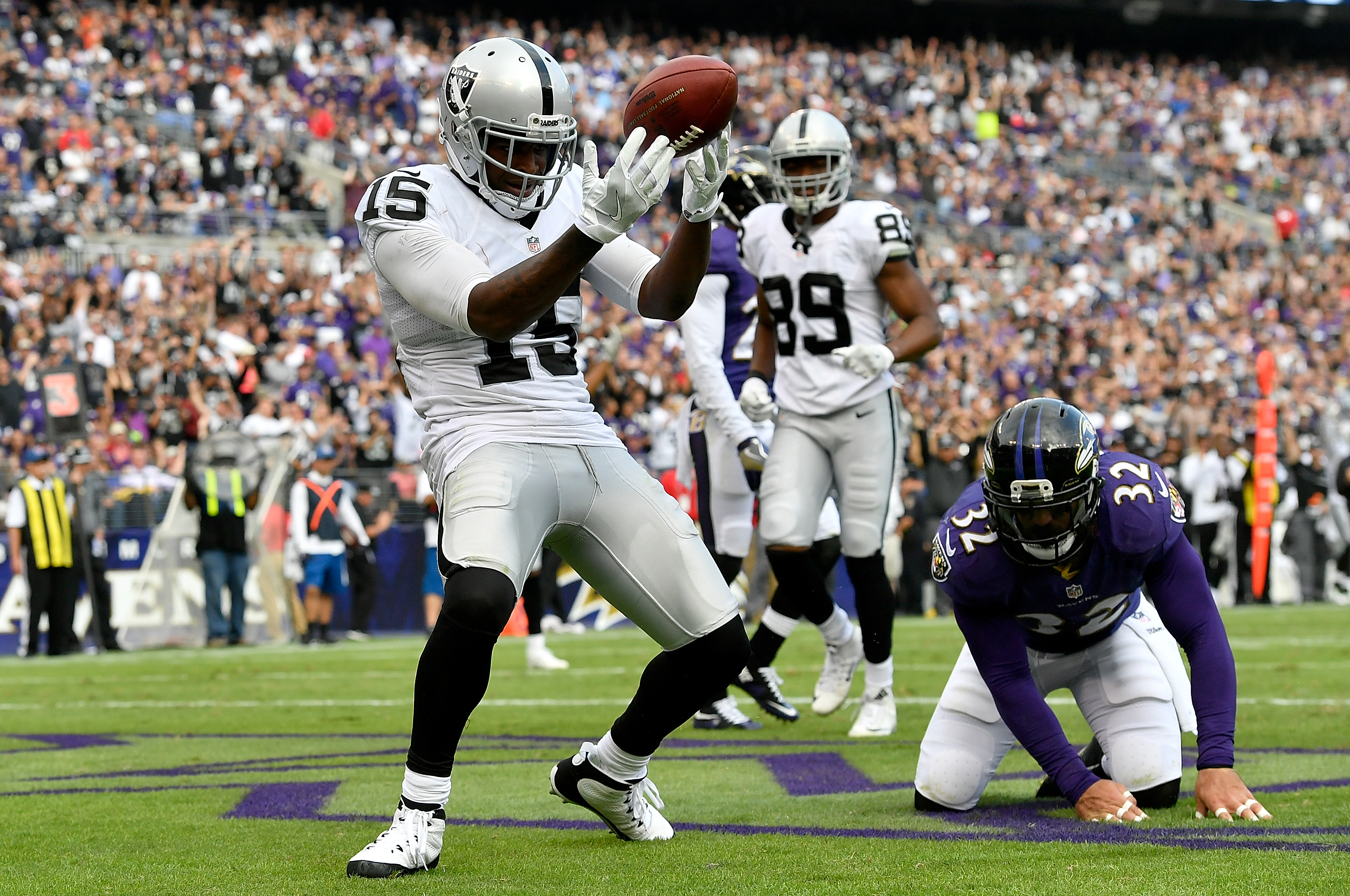 Michael Crabtree of the Oakland Raiders celebrates after scoring a touchdown against the Baltimore Ravens at M&T Bank Stadium on Oct. 2, 2016 in Baltimore, Maryland. (Photo by Larry French/Getty Images)