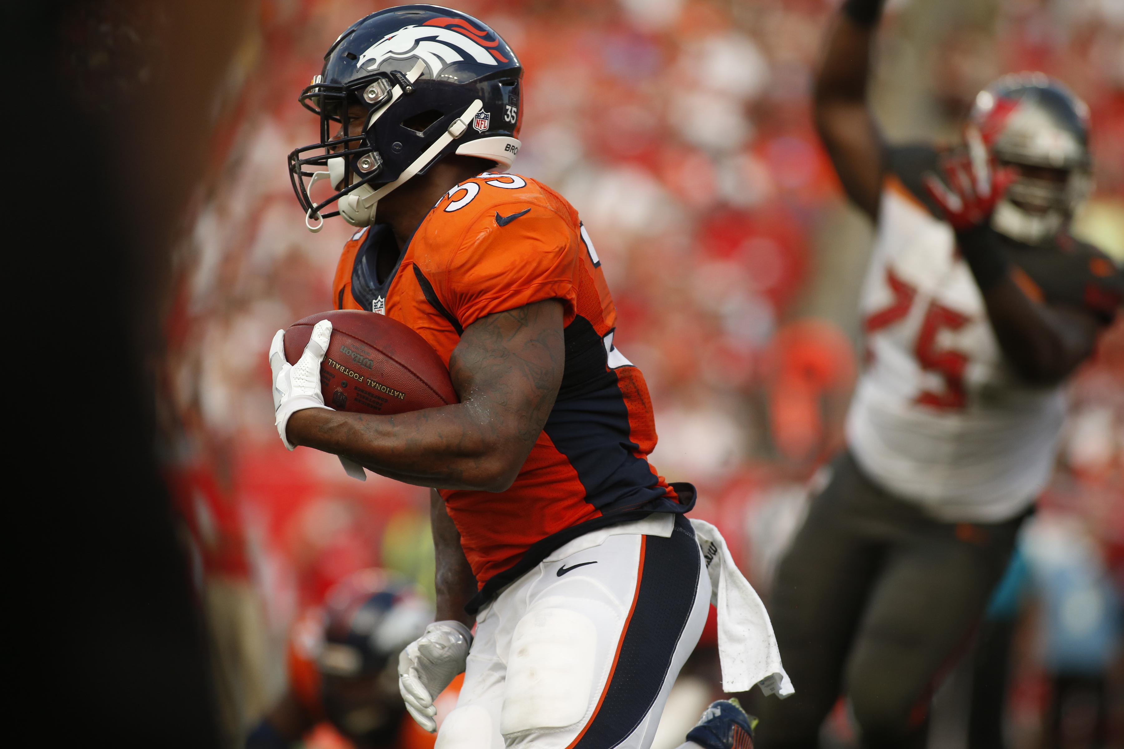 Running back Kapri Bibbs #35 of the Denver Broncos runs for yardage during the fourth quarter of an NFL game against the Tampa Bay Buccaneers on October 2, 2016 at Raymond James Stadium in Tampa, Florida. (Photo by Brian Blanco/Getty Images)