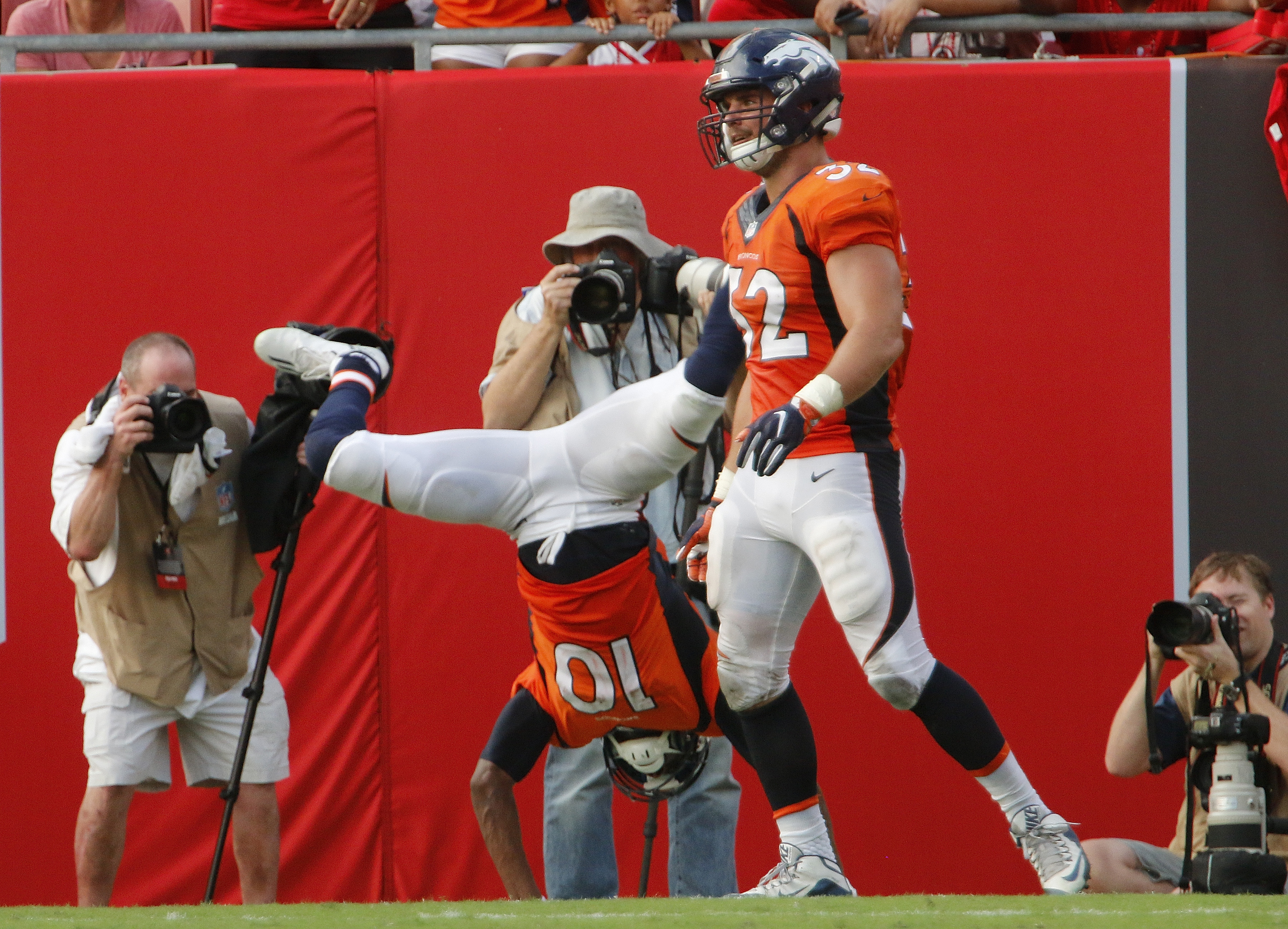 Emmanuel Sanders #10 of the Denver Broncos celebrates his touchdown with a somersault during the fourth quarter of their game the Tampa Bay Buccaneers at Raymond James Stadium on October 2, 2016 in Tampa, Florida. (Photo by Joseph Garnett Jr. /Getty Images)