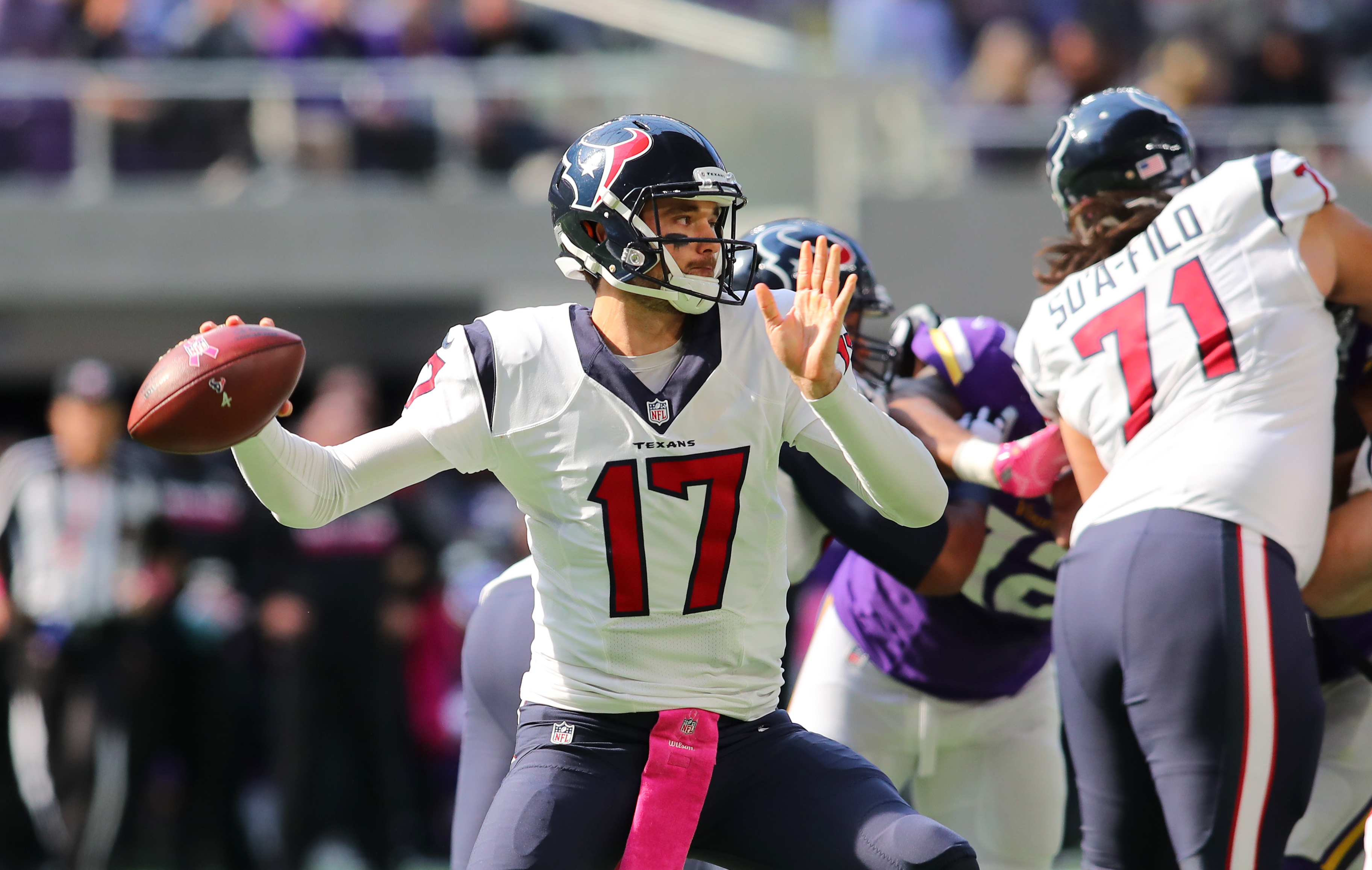 Quarterback Brock Osweiler #17 of the Houston Texans drops back to pass during the second quarter of the game against the Minnesota Vikings on October 9, 2016 at US Bank Stadium in Minneapolis. (credit: Adam Bettcher/Getty Images)