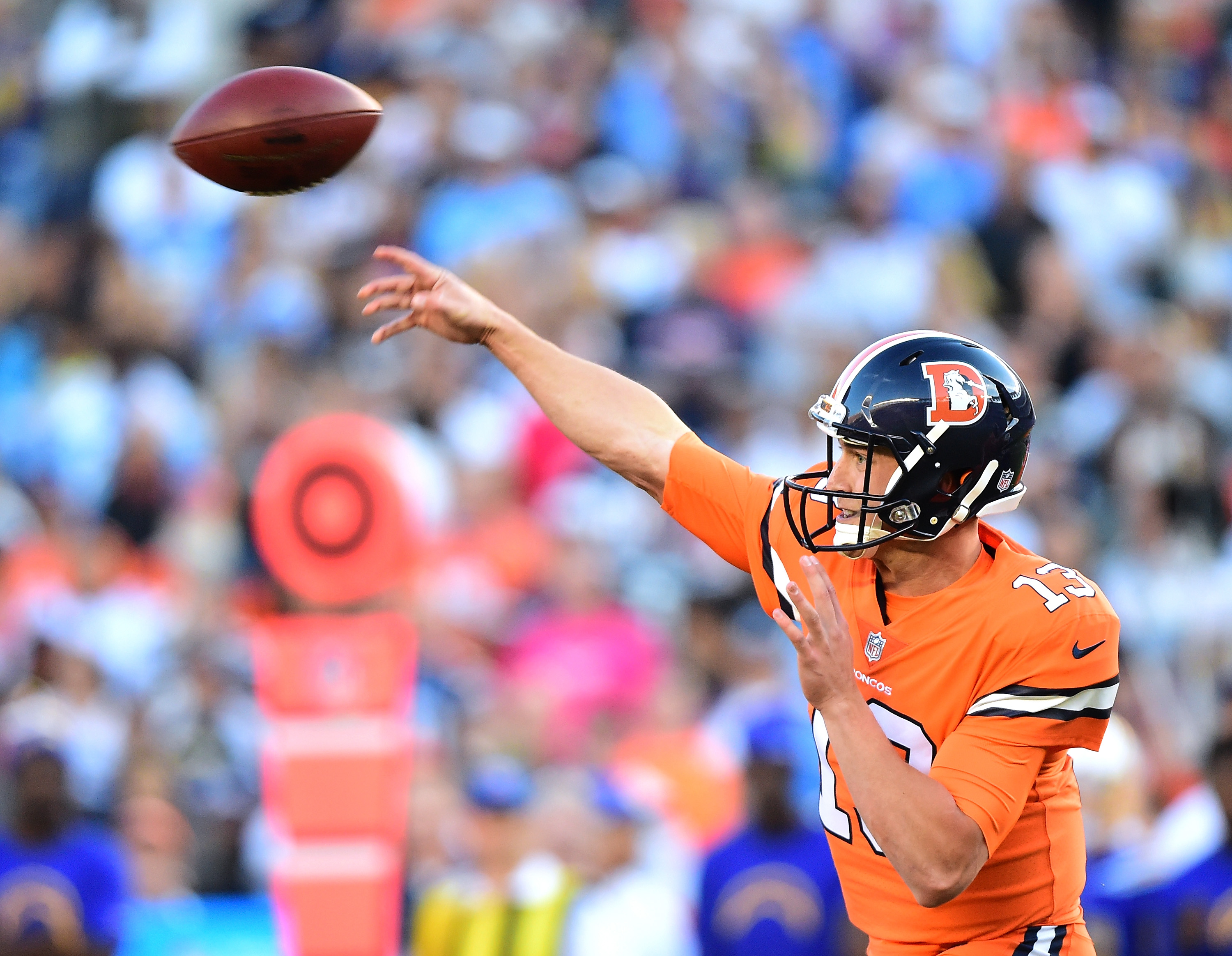 Trevor Siemian #13 of the Denver Broncos passes in the pocket during the first quarter against the San Diego Chargers at Qualcomm Stadium on October 13, 2016 in San Diego, California. (Photo by Harry How/Getty Images)
