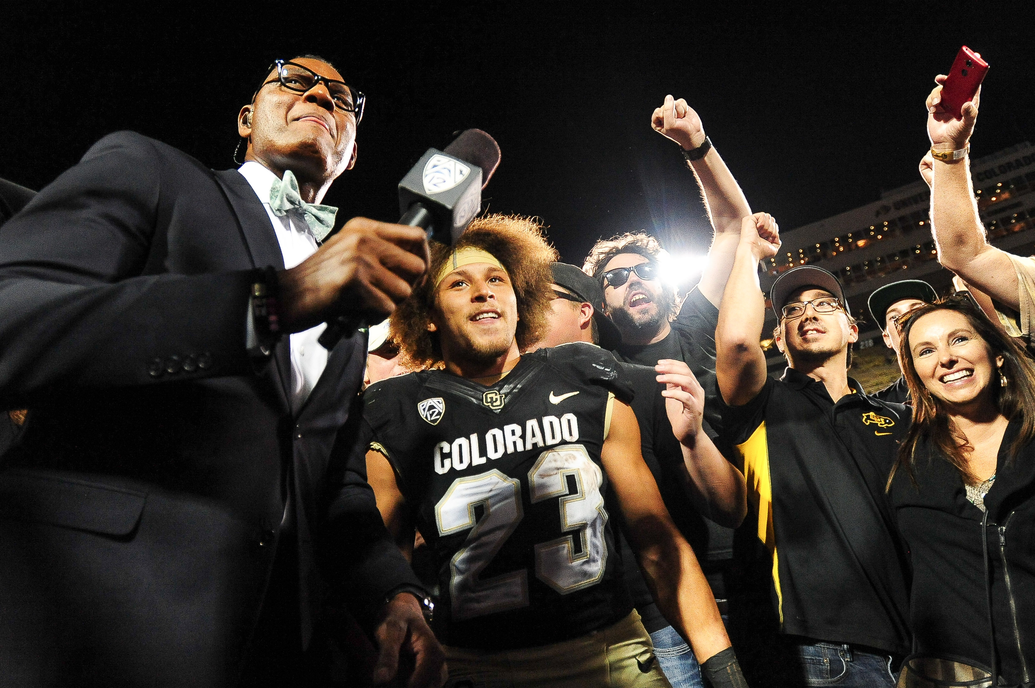 BOULDER, CO - OCTOBER 15: Colorado Buffaloes running back Phillip Lindsay #23 gives an interview after a 40-16 win over the Arizona State Sun Devils at Folsom Field on October 15, 2016 in Boulder, Colorado. (Photo by Dustin Bradford/Getty Images)