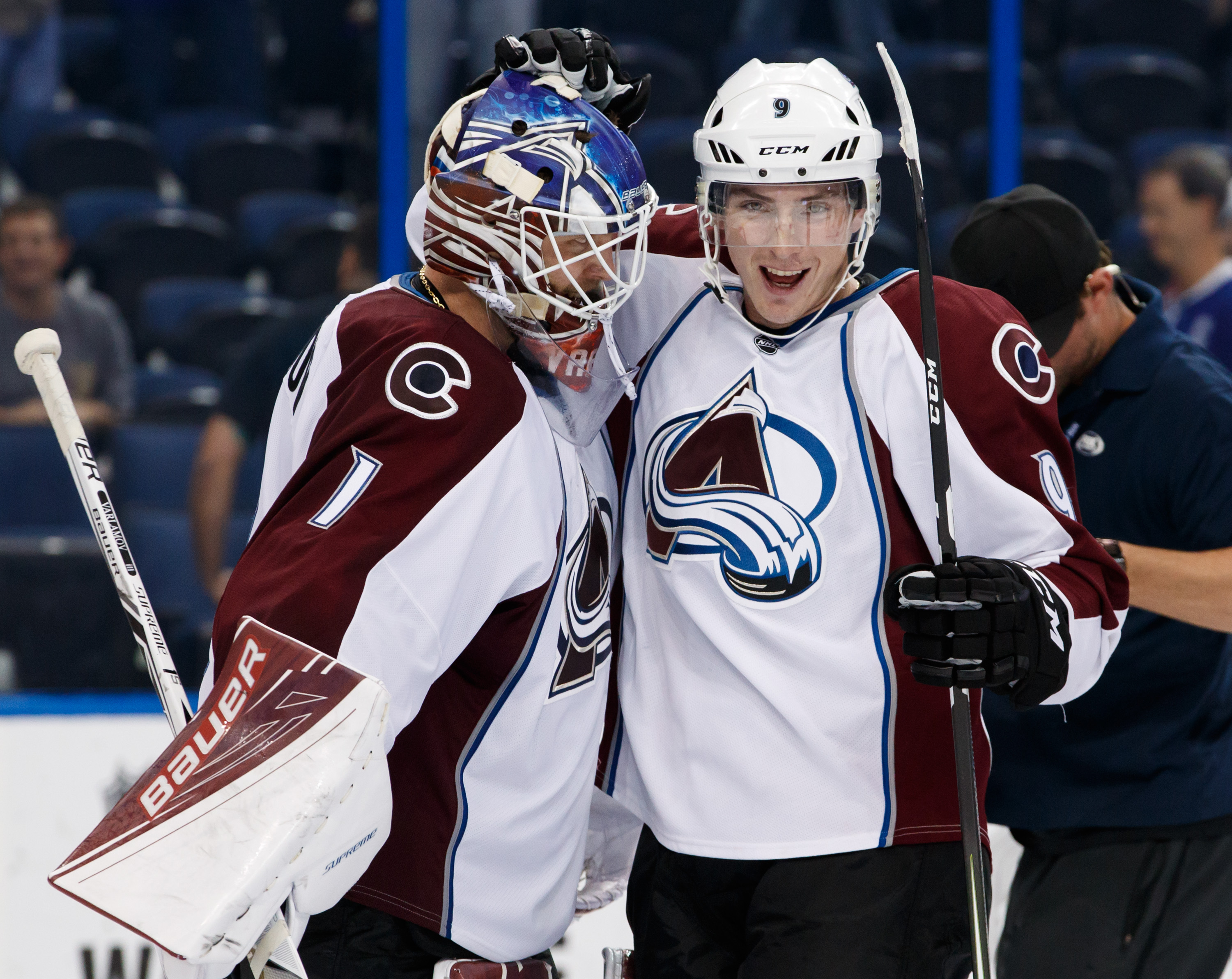 Goalie Semyon Varlamov #1 of the Colorado Avalanche celebrates a shutout win with teammate Matt Duchene #9 after the game against the Tampa Bay Lightning at Amalie Arena on October 20, 2016 in Tampa, Florida.  (Photo by Scott Audette/ NHLI via Getty Images)