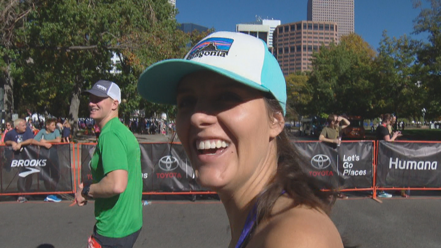 CBS4's Karen Morfitt finishes the half marathon (credit: CBS)