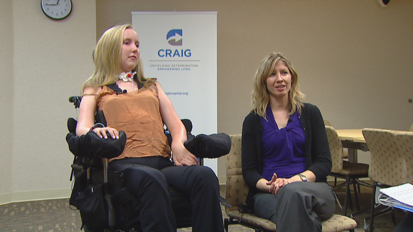 Gracie Fisher with Music Therapist Sarah Thompson.(credit: CBS)