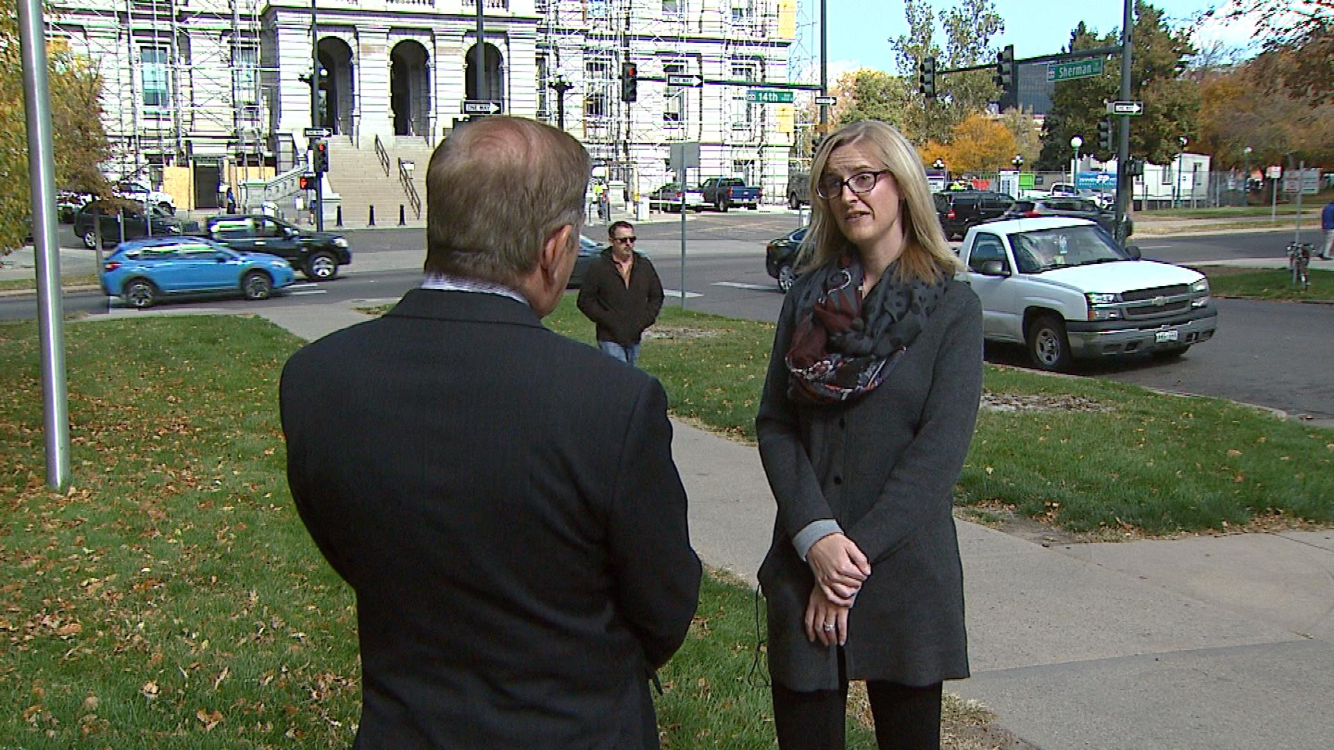 CBS4's Rick Sallinger interviews Lynn Granger, a spokesperson for the Colorado Department of Revenue (credit: CBS)