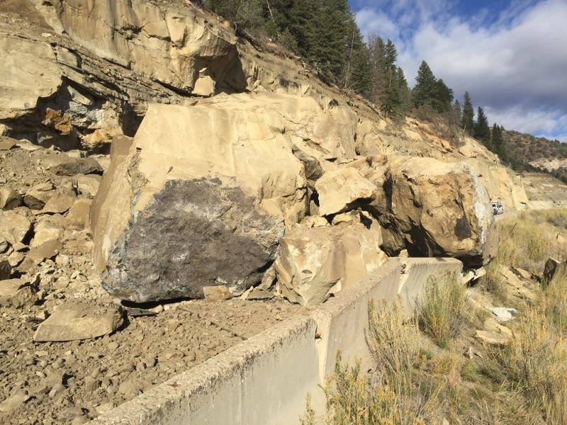 The rock slide on McClure Pass (credit: CDOT)