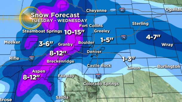 Snow Forecast - Totals By Wednesday